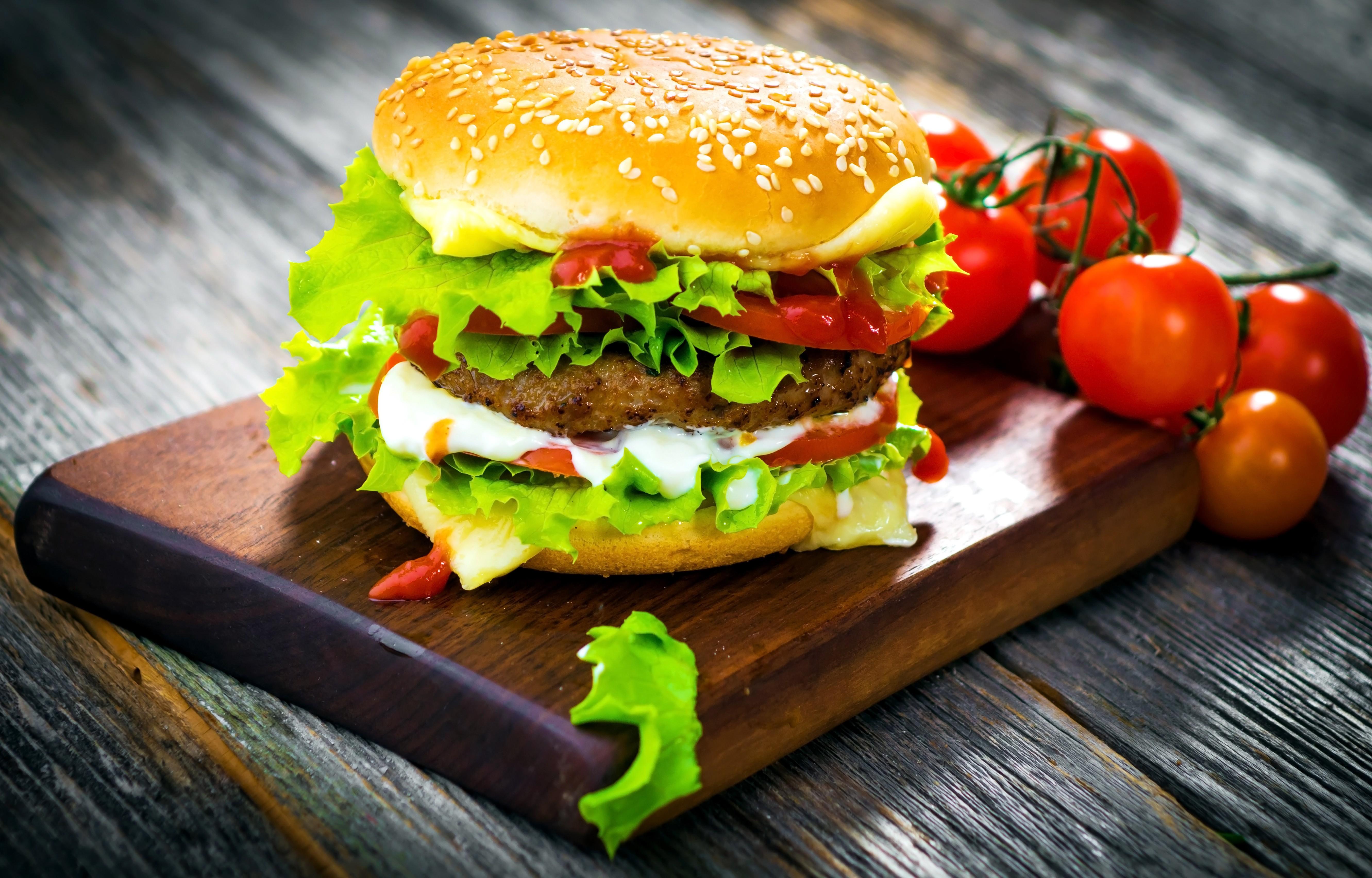 Wallpaper Hamburger Tomato Salad Bun Burger Cheese