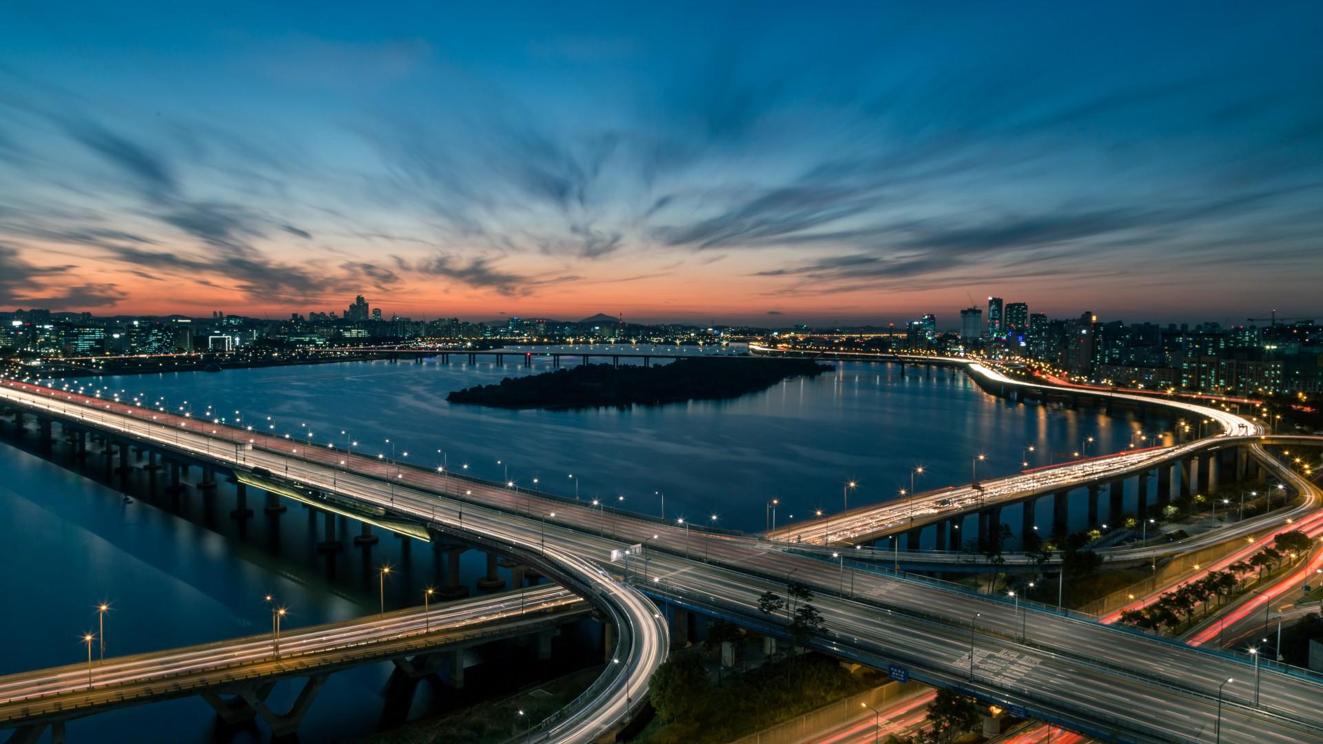 Wallpaper Han River Bridge Seoul South Korea 5k