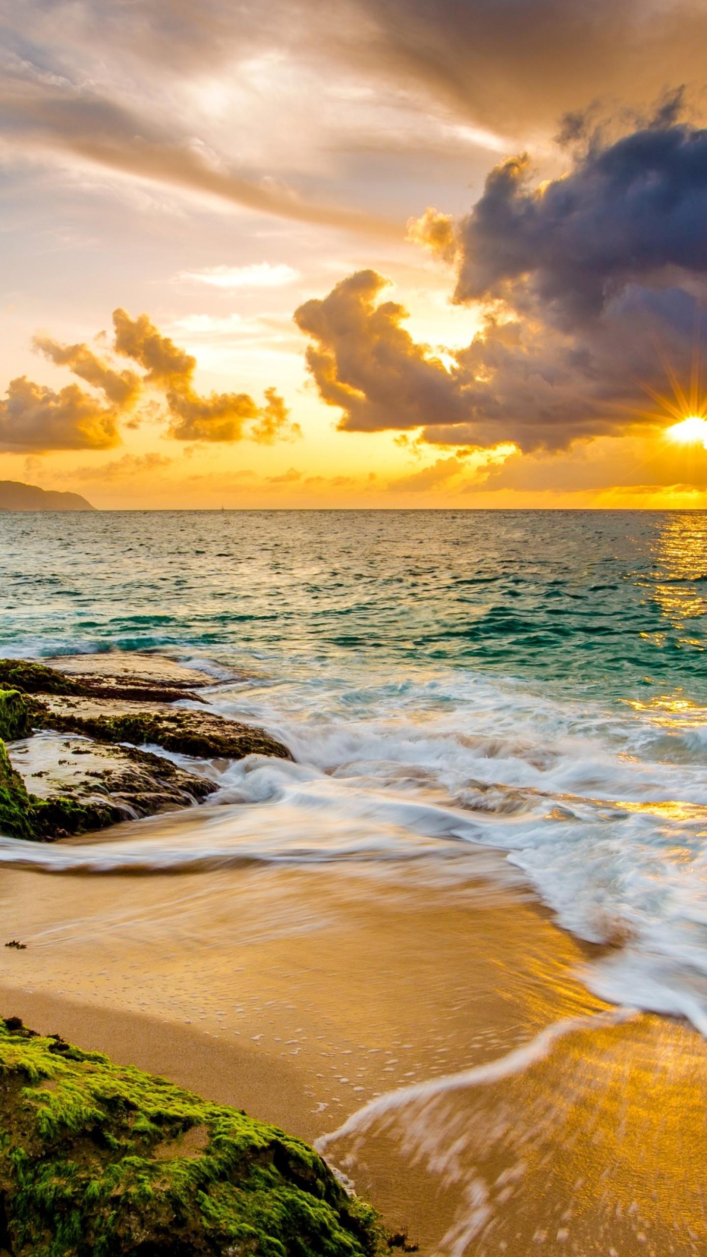 Wallpaper Hawaii, sunset, beach, ocean, coast, sky, 4k ...