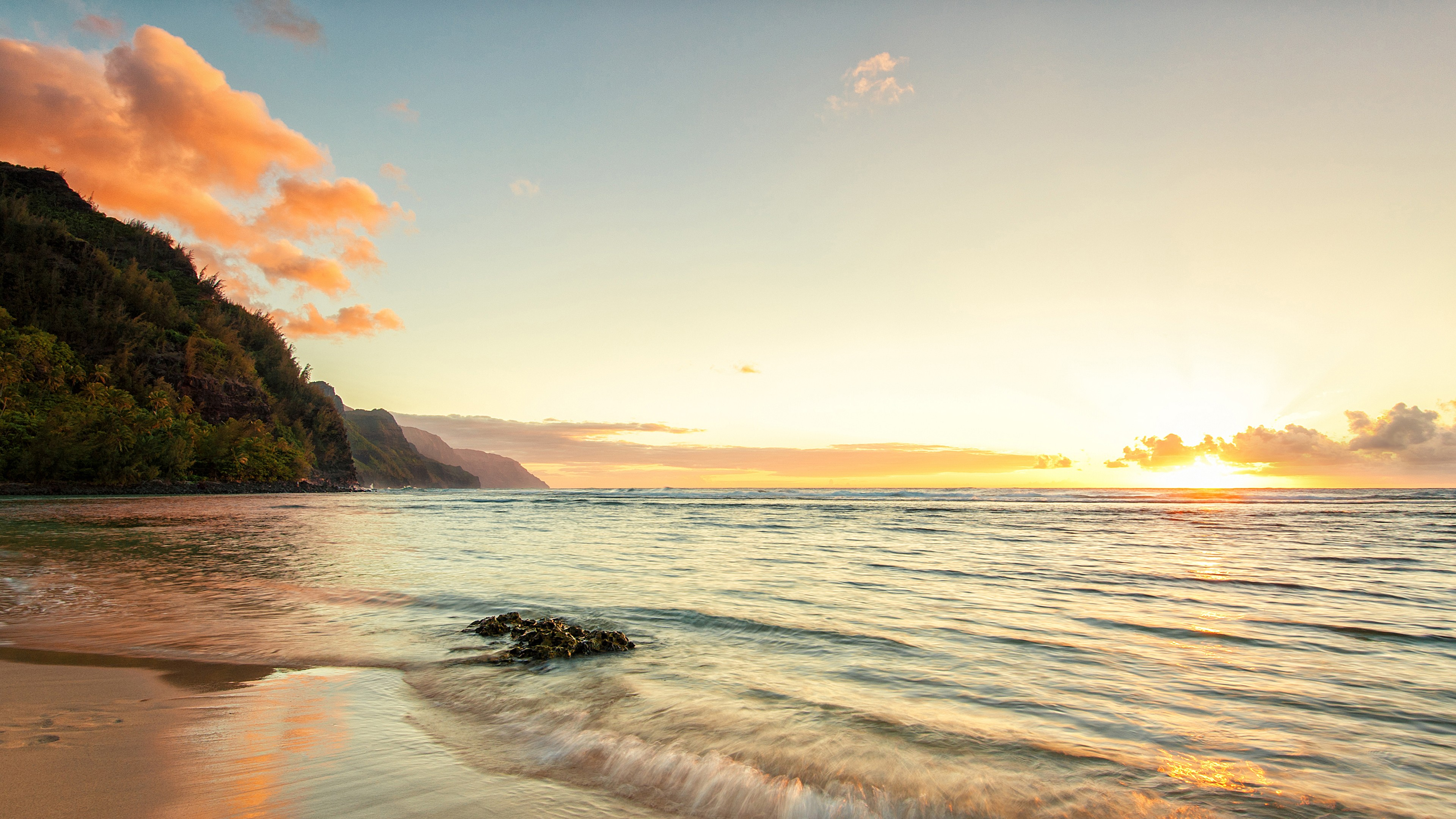 Wallpaper Hawaii 4k HD Kee Beach Island Kauai Sky