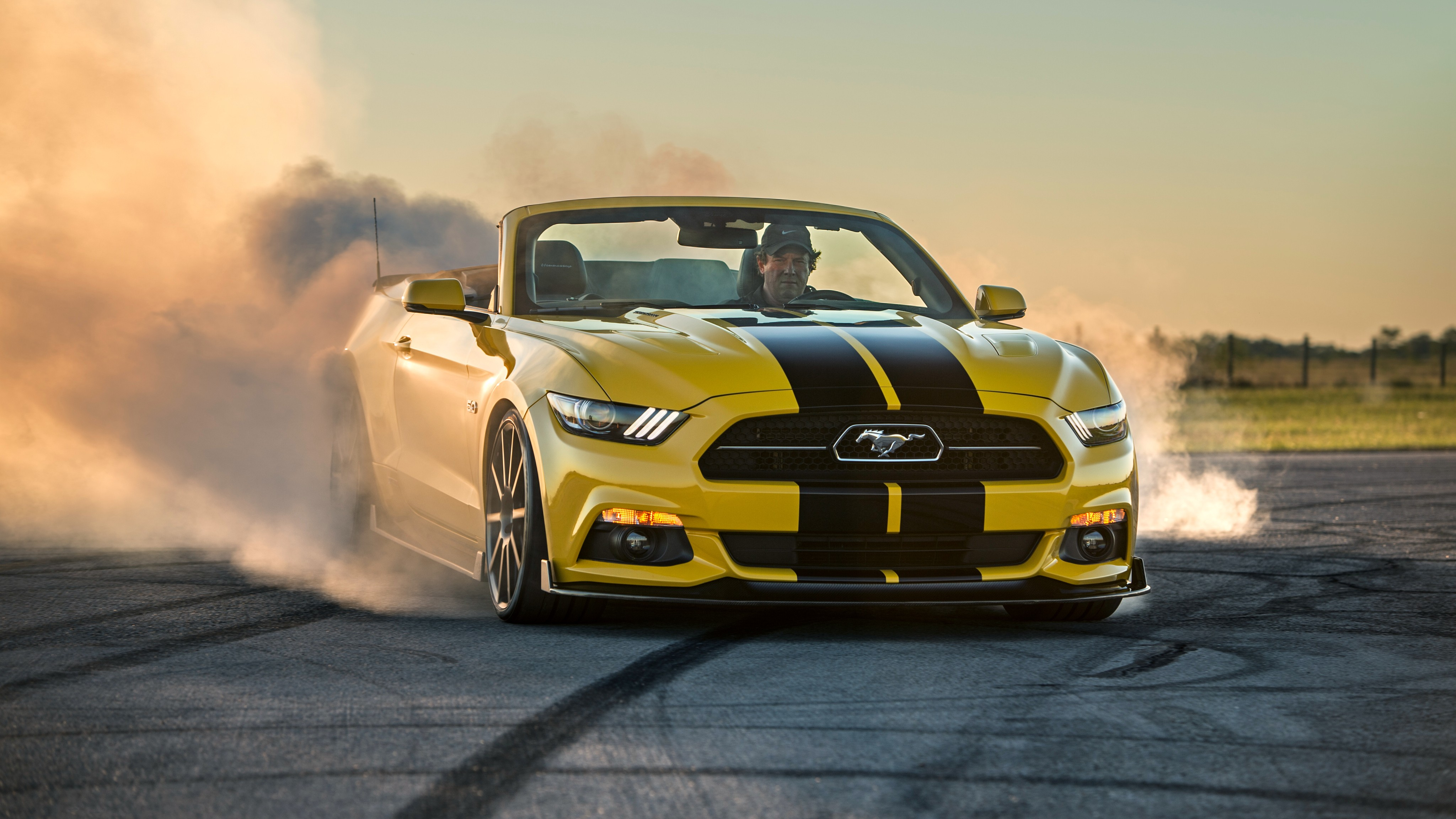 Ford Mustang Hennessey >> Wallpaper Hennessey Mustang GT Convertible, HPE750 Supercharged, yellow, sport car, racing, SEMA ...