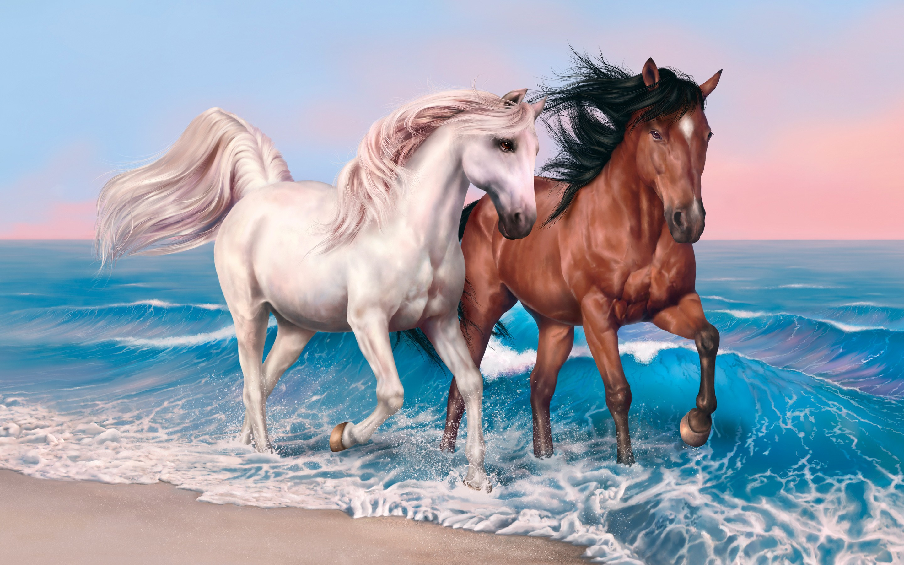 Wallpaper Horses 4k HD Run Sea Ocean Sunset White