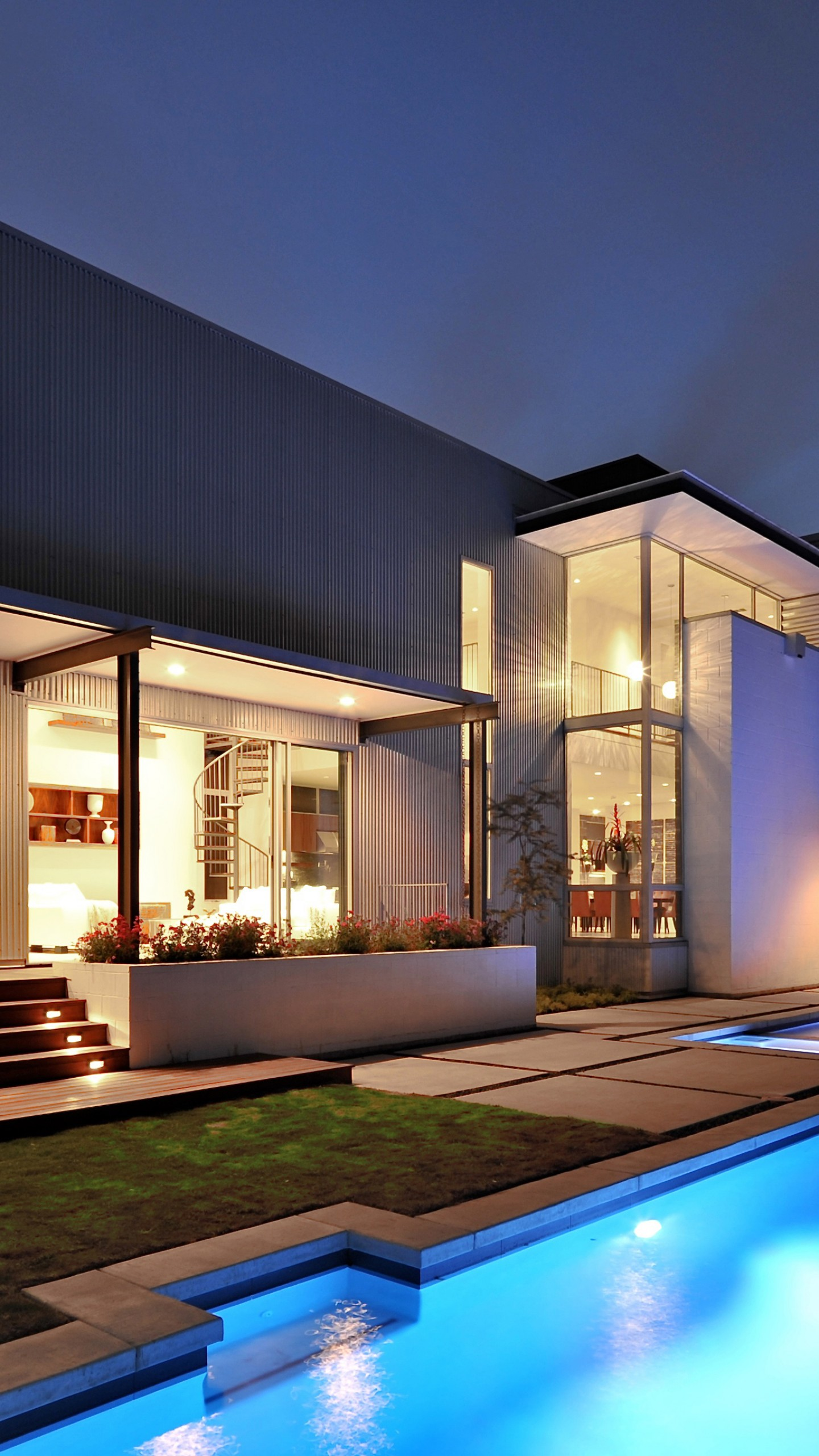 Wallpaper house mansion pool modern interior high tech