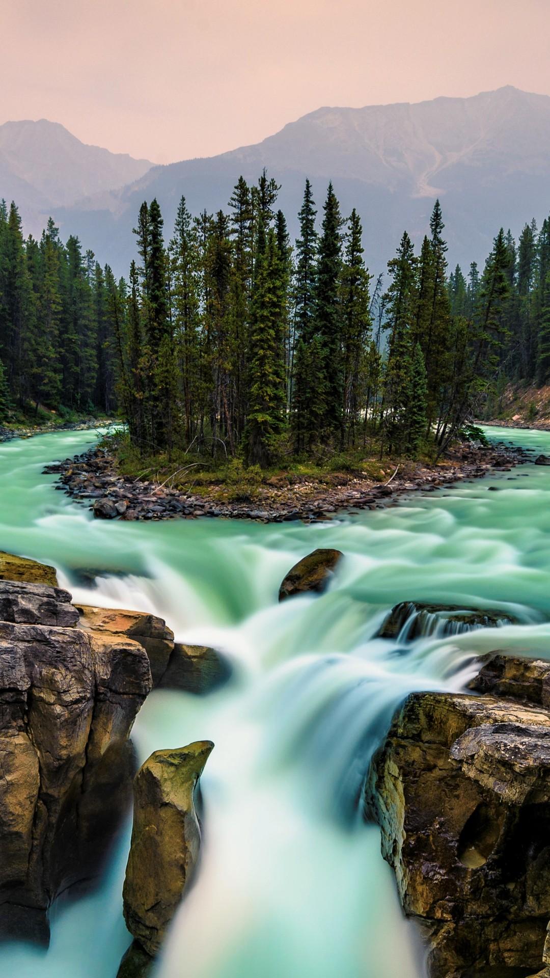 Wallpaper Jasper National Park, Canada, Waterfall, 5K