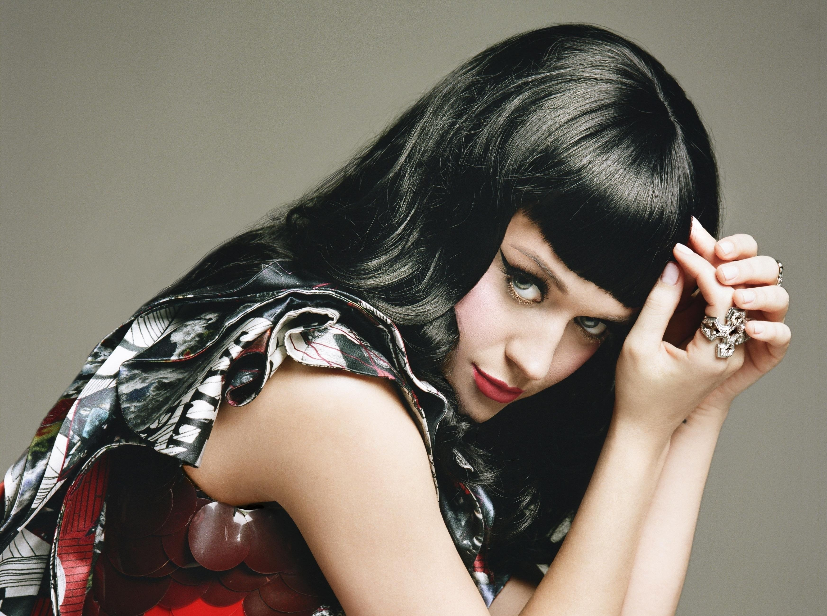 Wallpaper Katy Perry Artists Music Brunette Red Lips Jewel