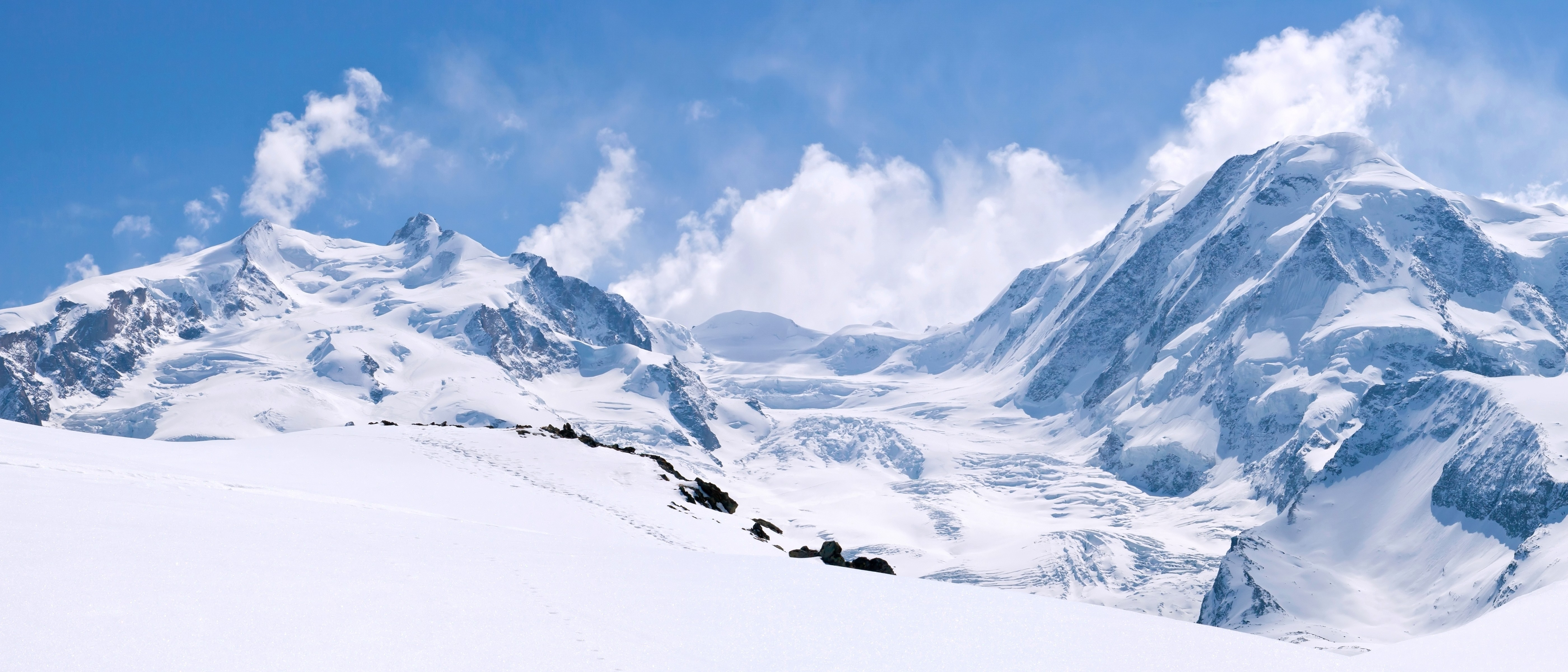 3D Wallpaper, OS: 3D, Mountains, snow, clouds