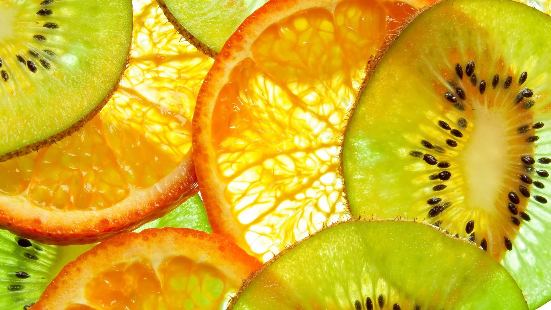 Wallpaper kiwi orange fruit 5k Food