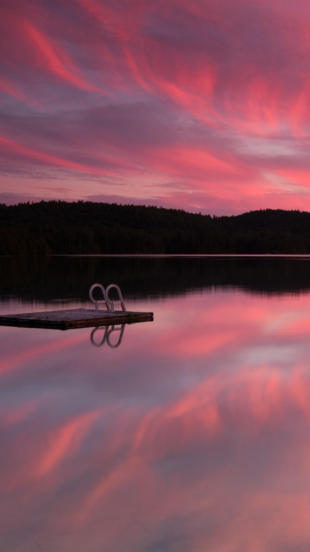 Wallpaper Lake, 4k, HD wallpaper, sea, pink sunset ...