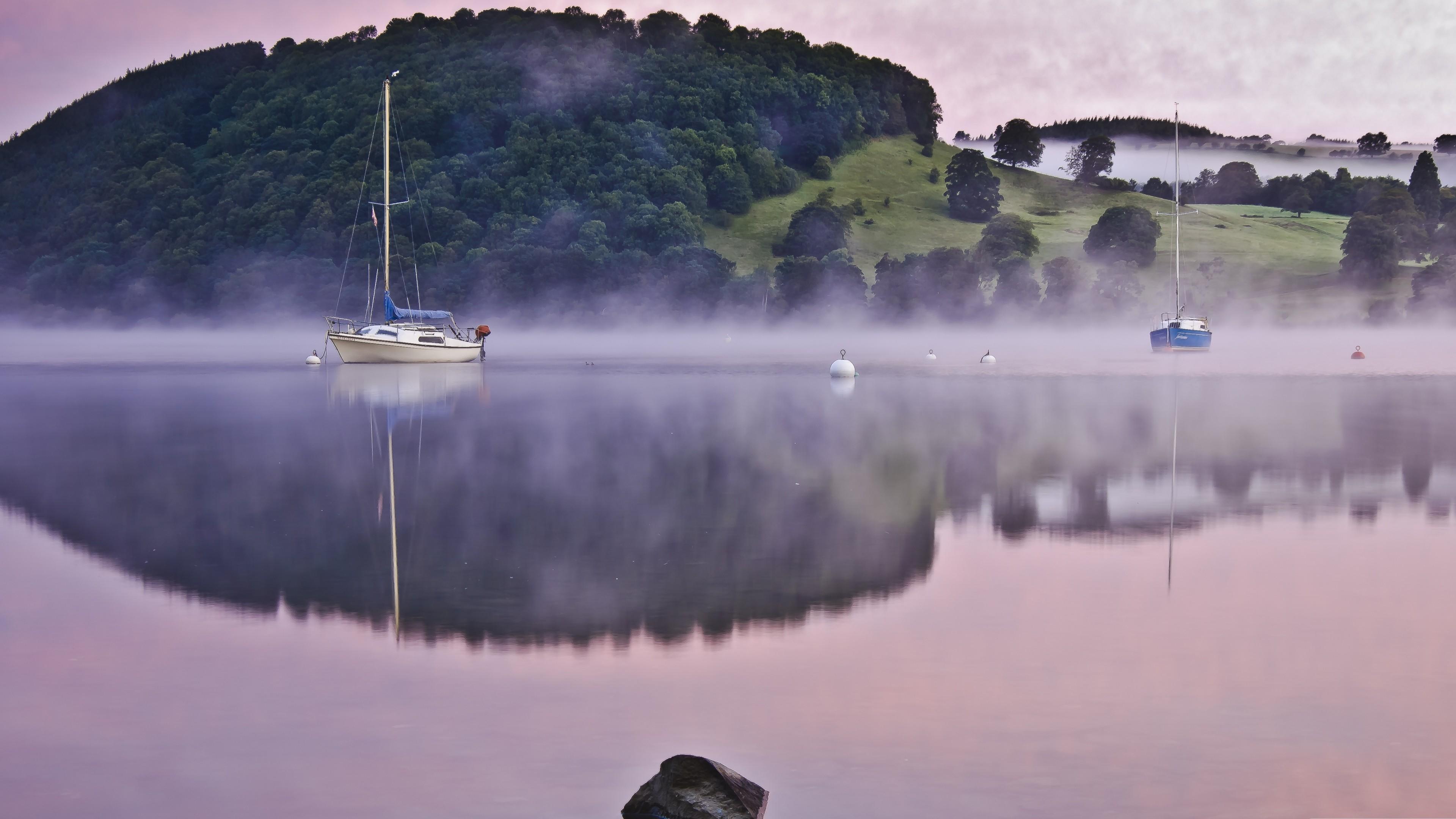 Wallpaper Lake 4k 5k Wallpaper Fog Hills Boat
