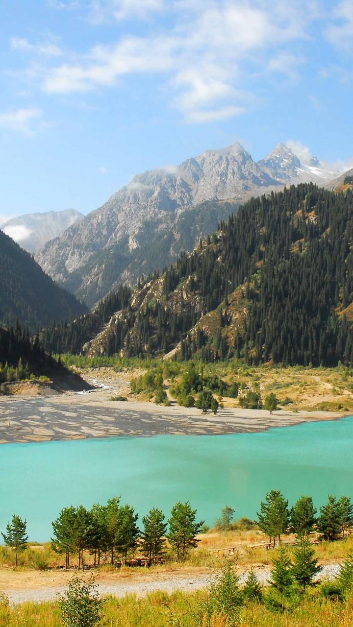 Wallpaper Lake Issyk-Kul, Kyrgyzstan, mountains, forest ...