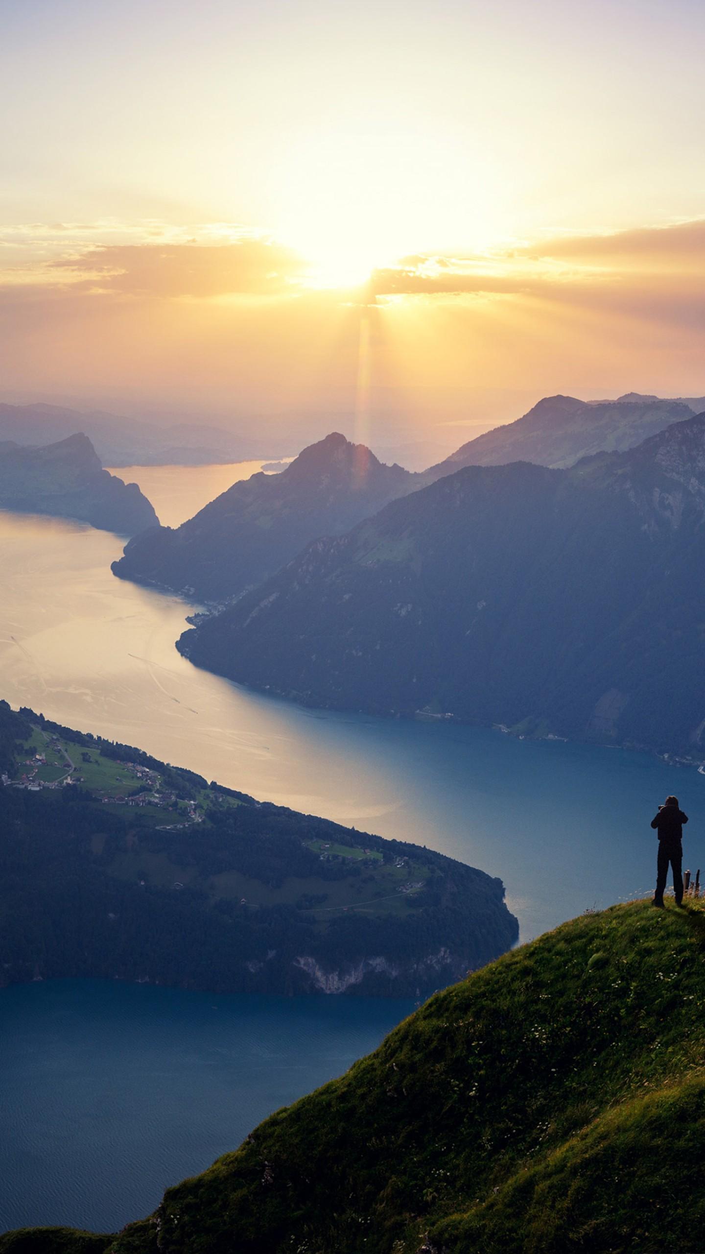 Wallpaper Lake Lucerne Switzerland Landscape Lake