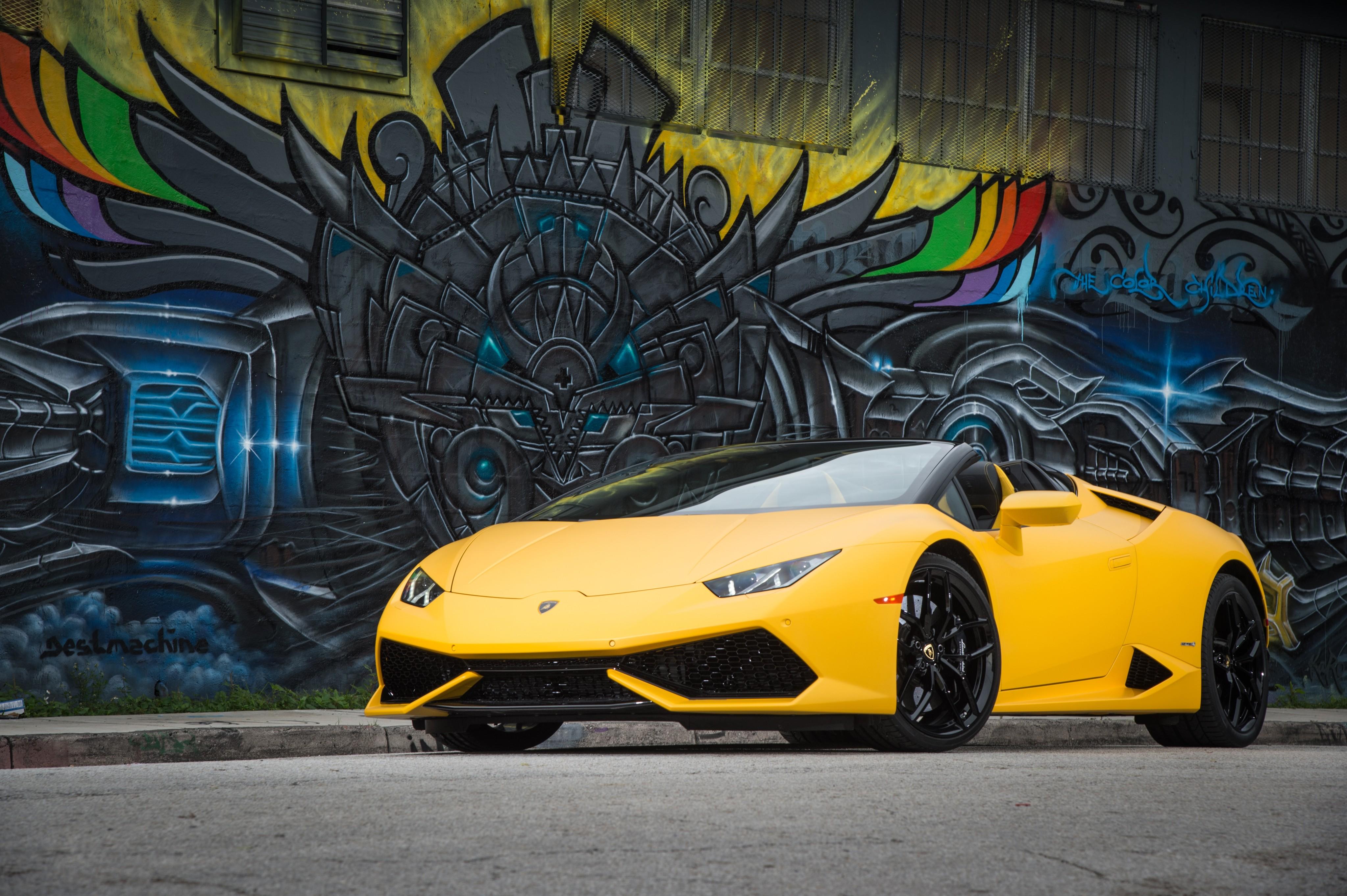 Wallpaper Lamborghini Hurac 225 N Lp 610 4 Spyder Bodykit Graffiti Yellow Cars Amp Bikes 10671