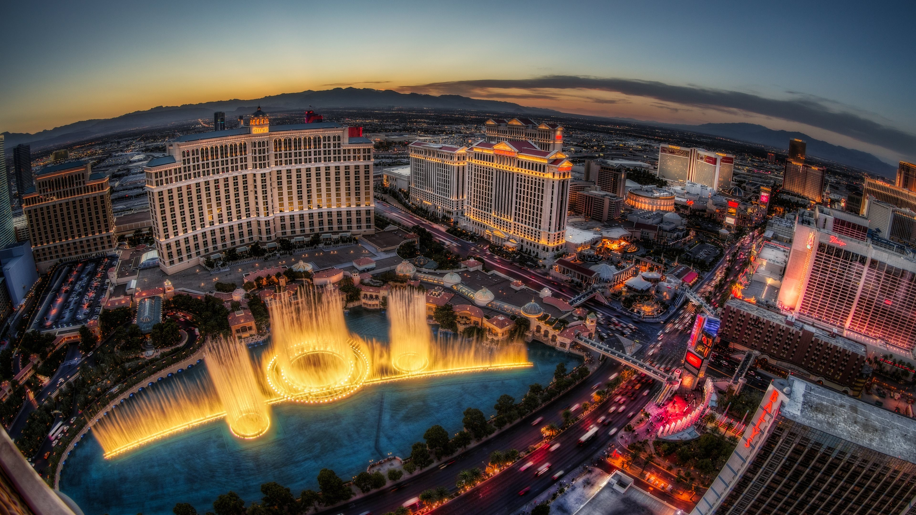 Wallpaper las vegas usa nevada bellagio fountain travel vacation sunset lights night - Las vegas wallpaper 4k ...