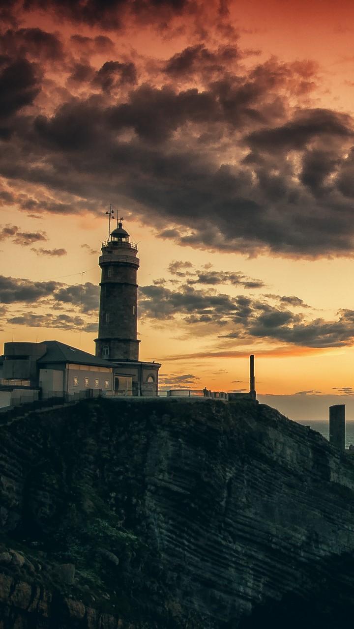 Wallpaper Lighthouse, HD, 4k Wallpaper, Rocks, Sea, Sunset