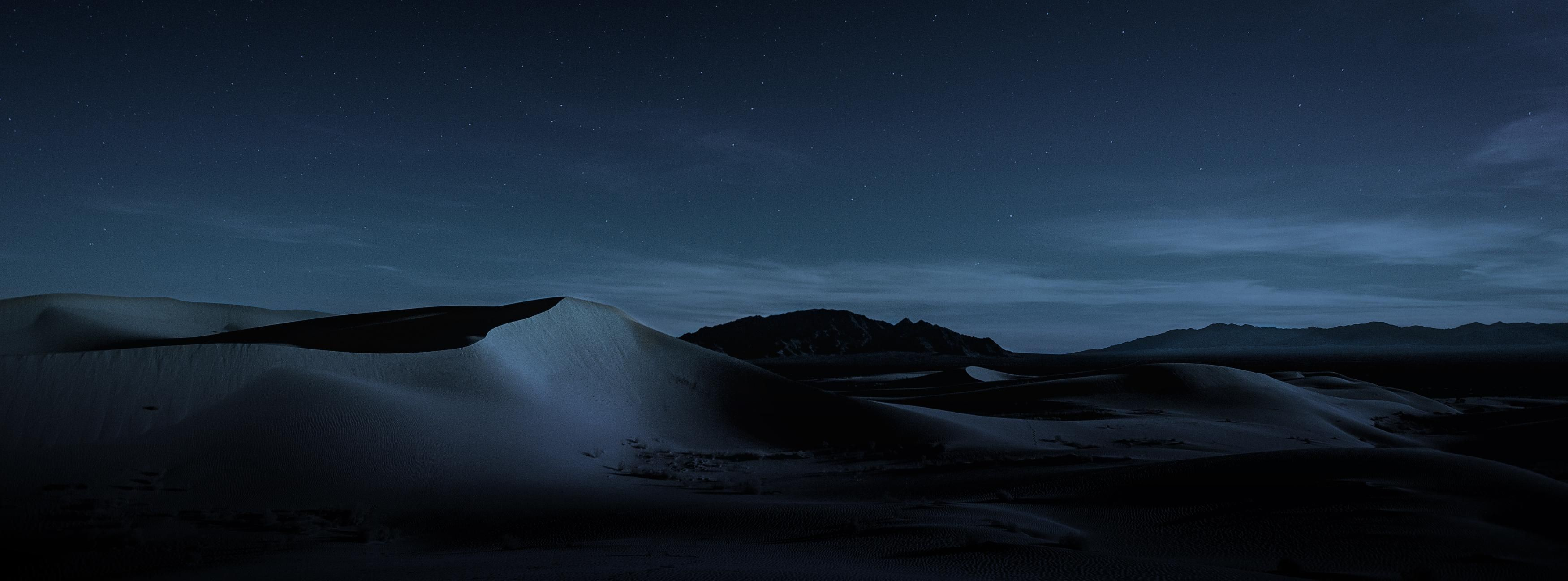 Wallpaper MacOS Mojave, Night, Dunes, 4K, OS #18885