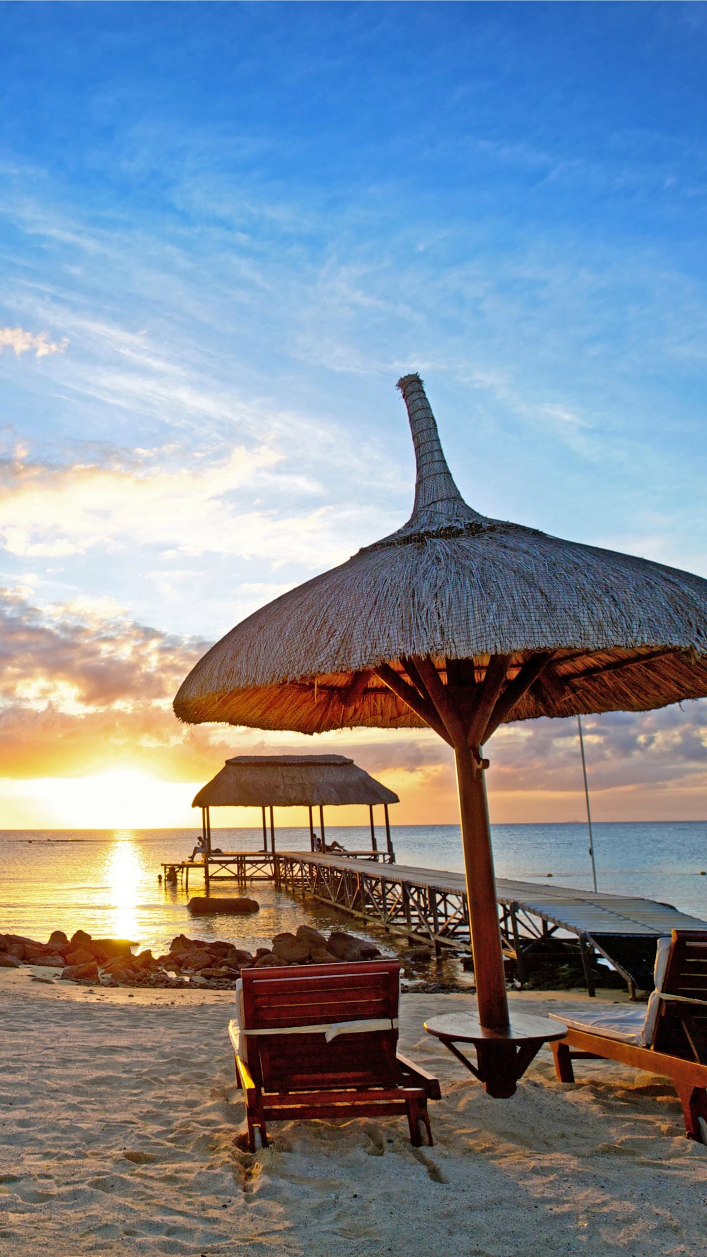 Wallpaper Mauritius Sunset Indian Ocean Beach Sand