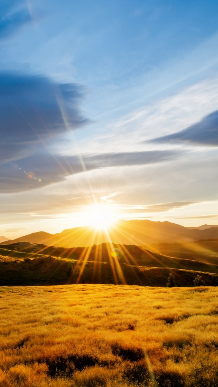 Sky Wallpapers: Wallpaper Meadows, HD, 4k Wallpaper, Mountains, Sunset