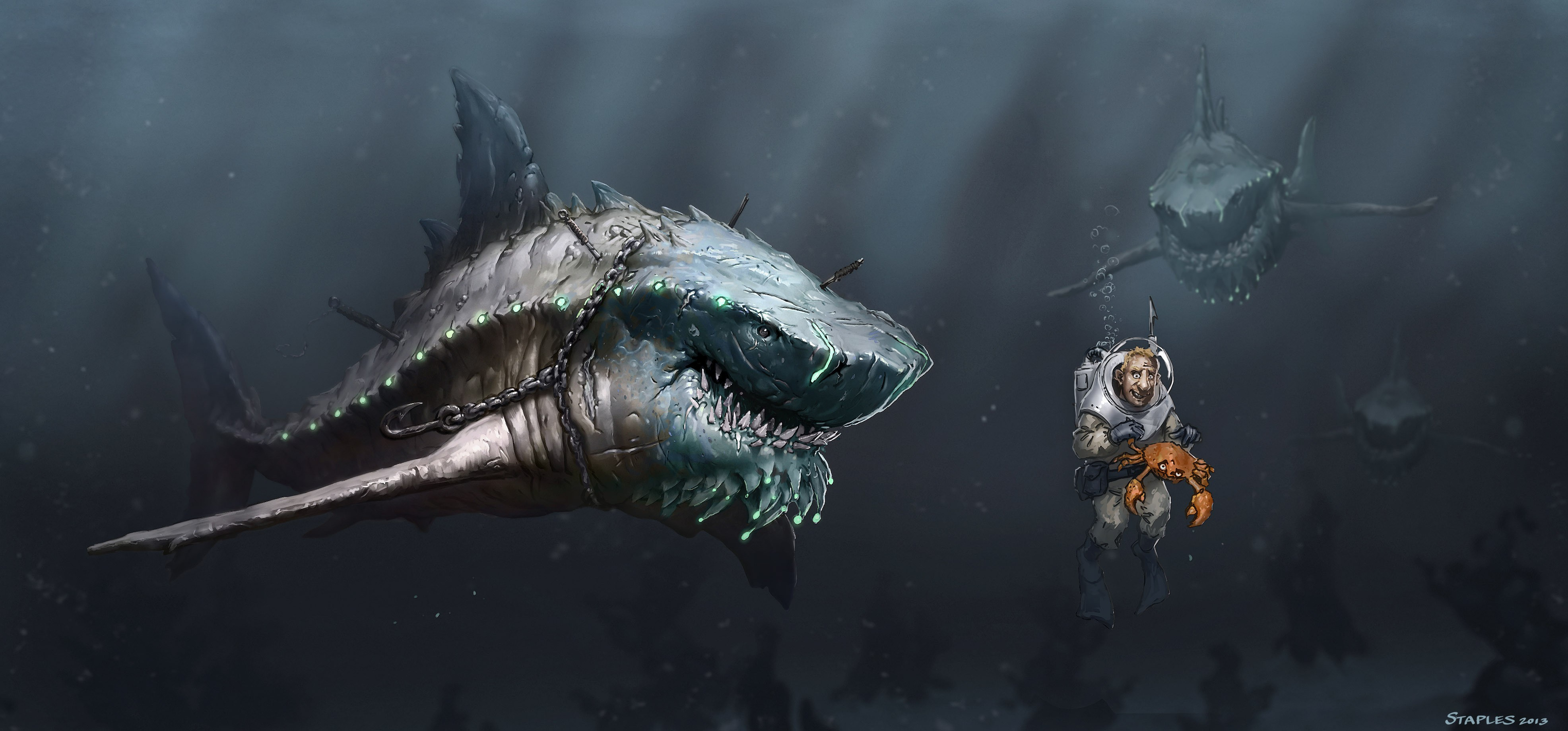 Wallpaper Megalodon, shark, art, Animals #5856