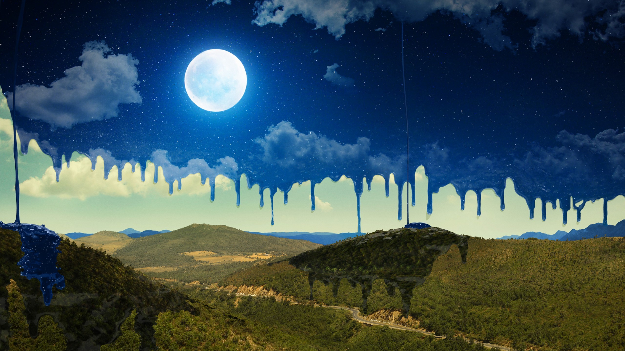Wallpaper Moon Mountains Night Art Hd Nature 15555