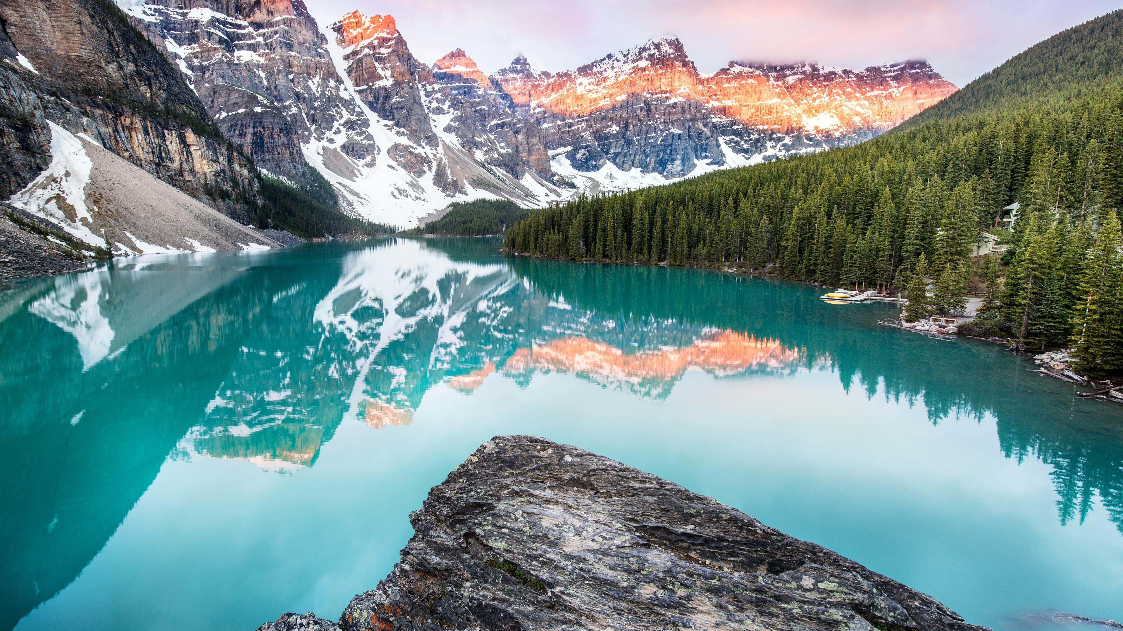 4k Wallpaper: Wallpaper Moraine Lake, Banff, Canada, Mountains, Forest