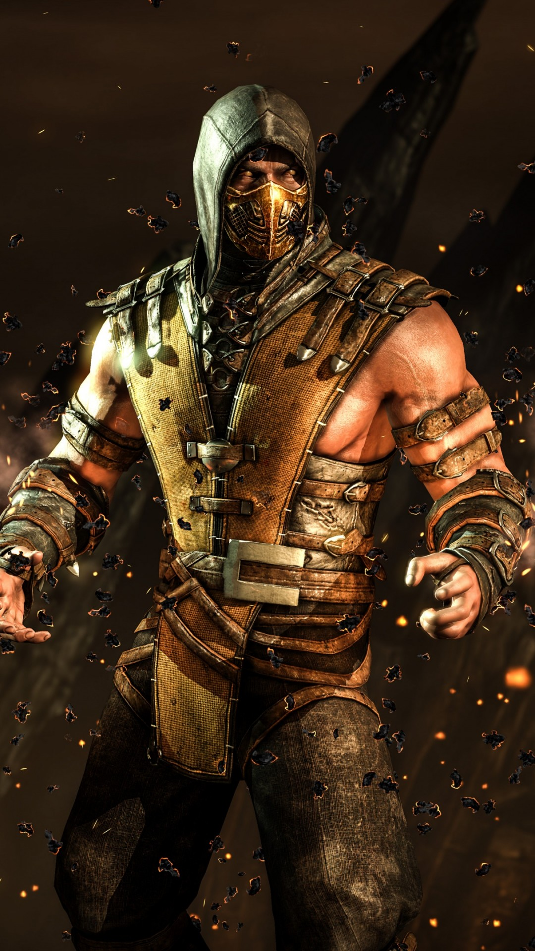 mortal kombat x 1080x1920 scorpion fighting ps4 xbox one 10739