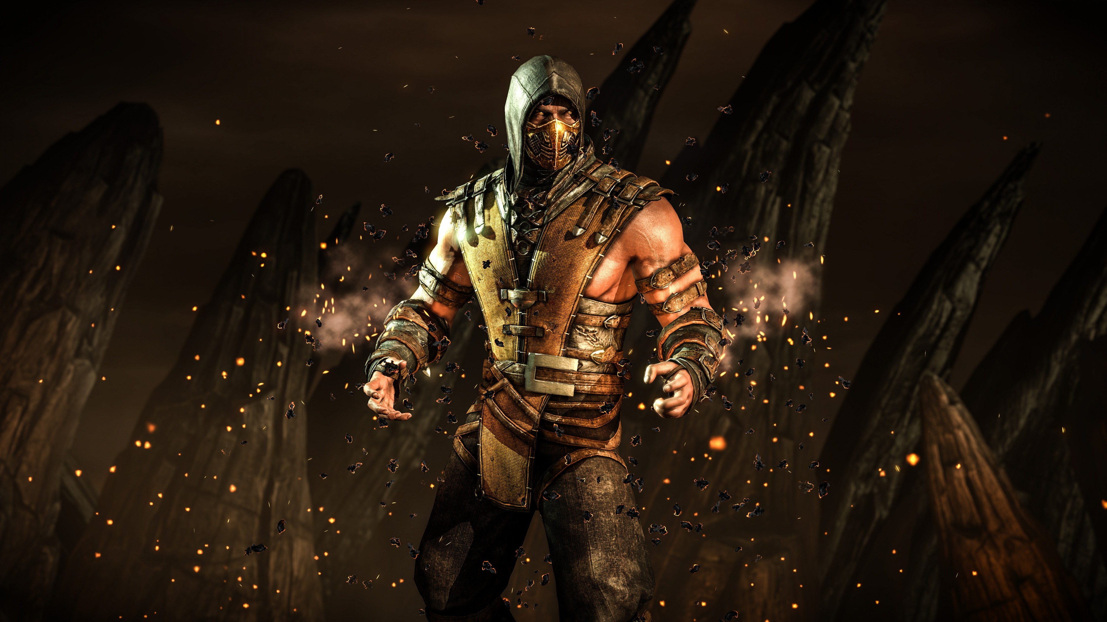 wallpaper mortal kombat x, scorpion, fighting, ps4, xbox one, games