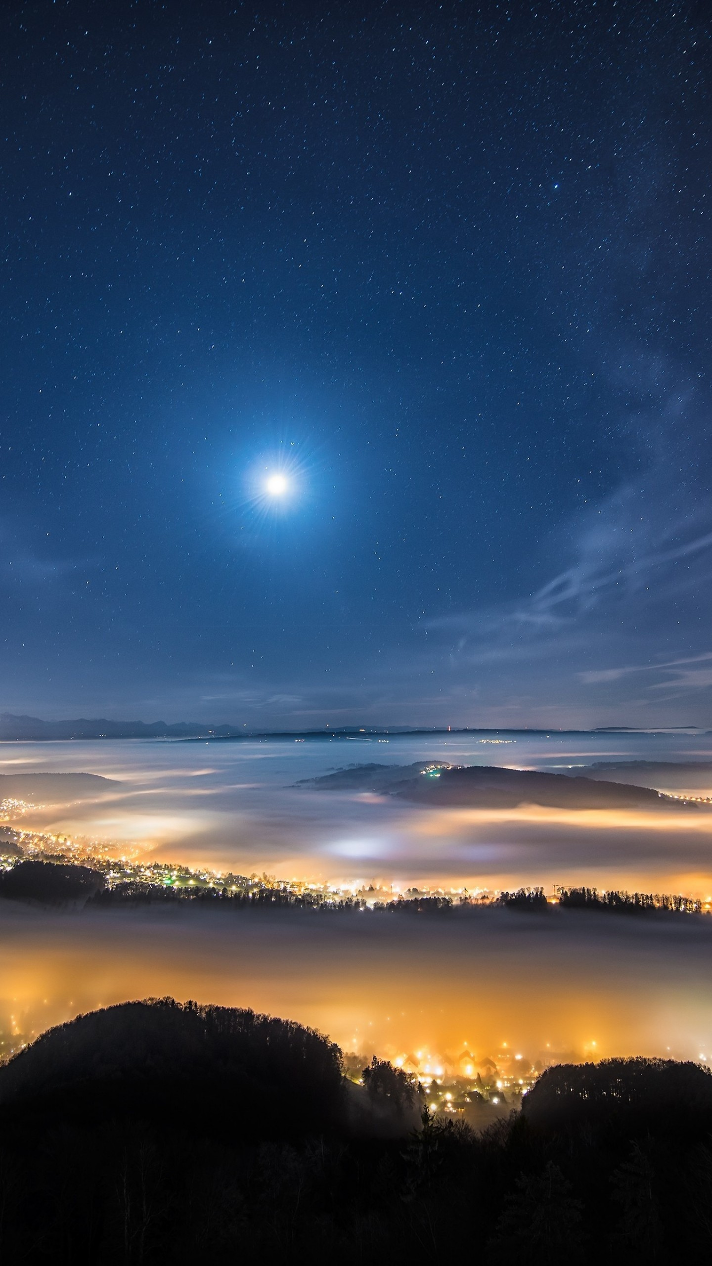 Wallpaper Night Sky, Night City, Earth, Sky, Stars, Clouds