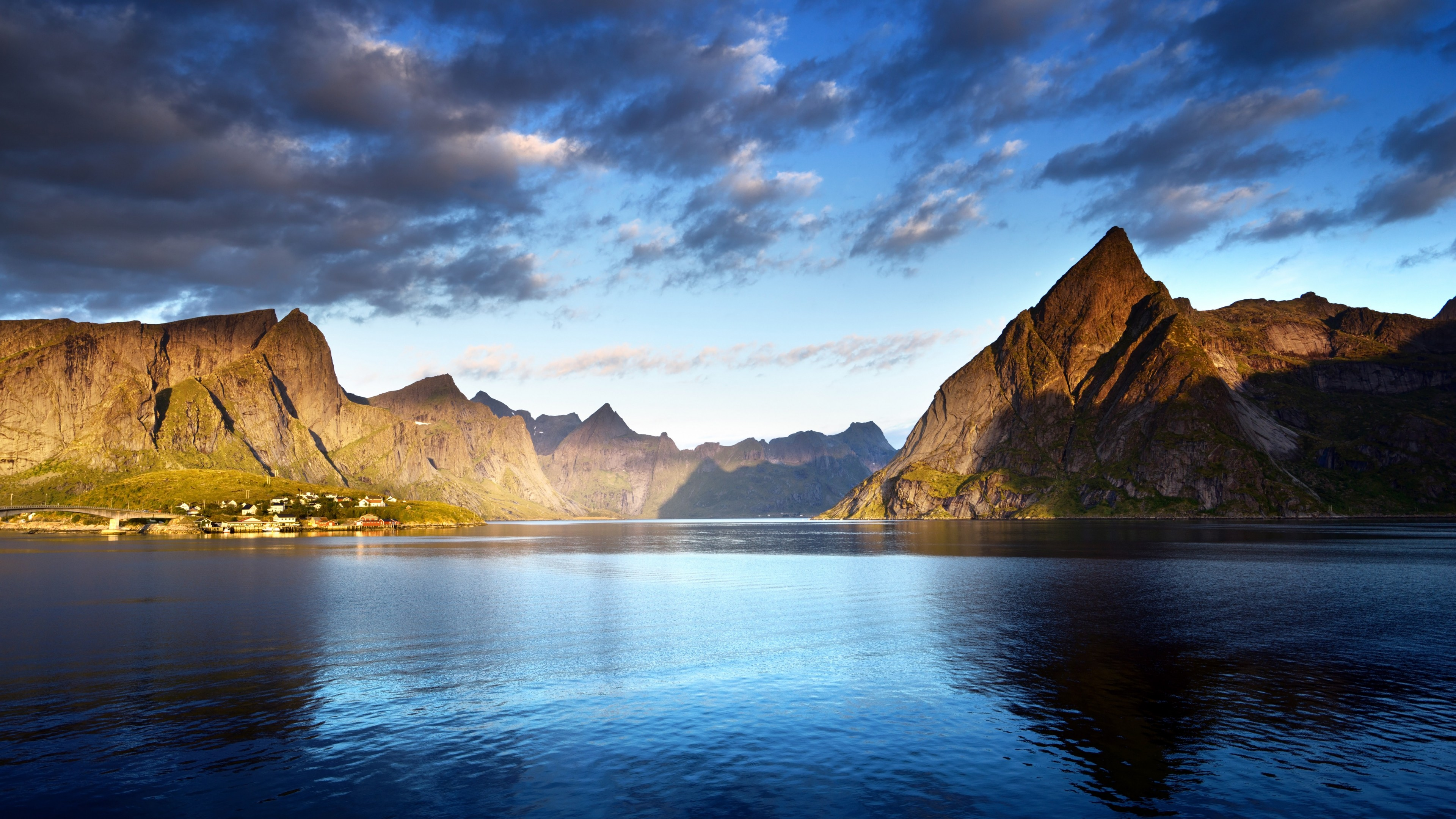 Wallpaper Norway Lofoten Islands Europe Mountains Sea
