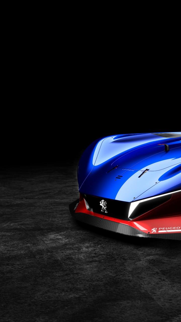 Wallpaper Peugeot L500 R HYbrid Supercar Blue Cars