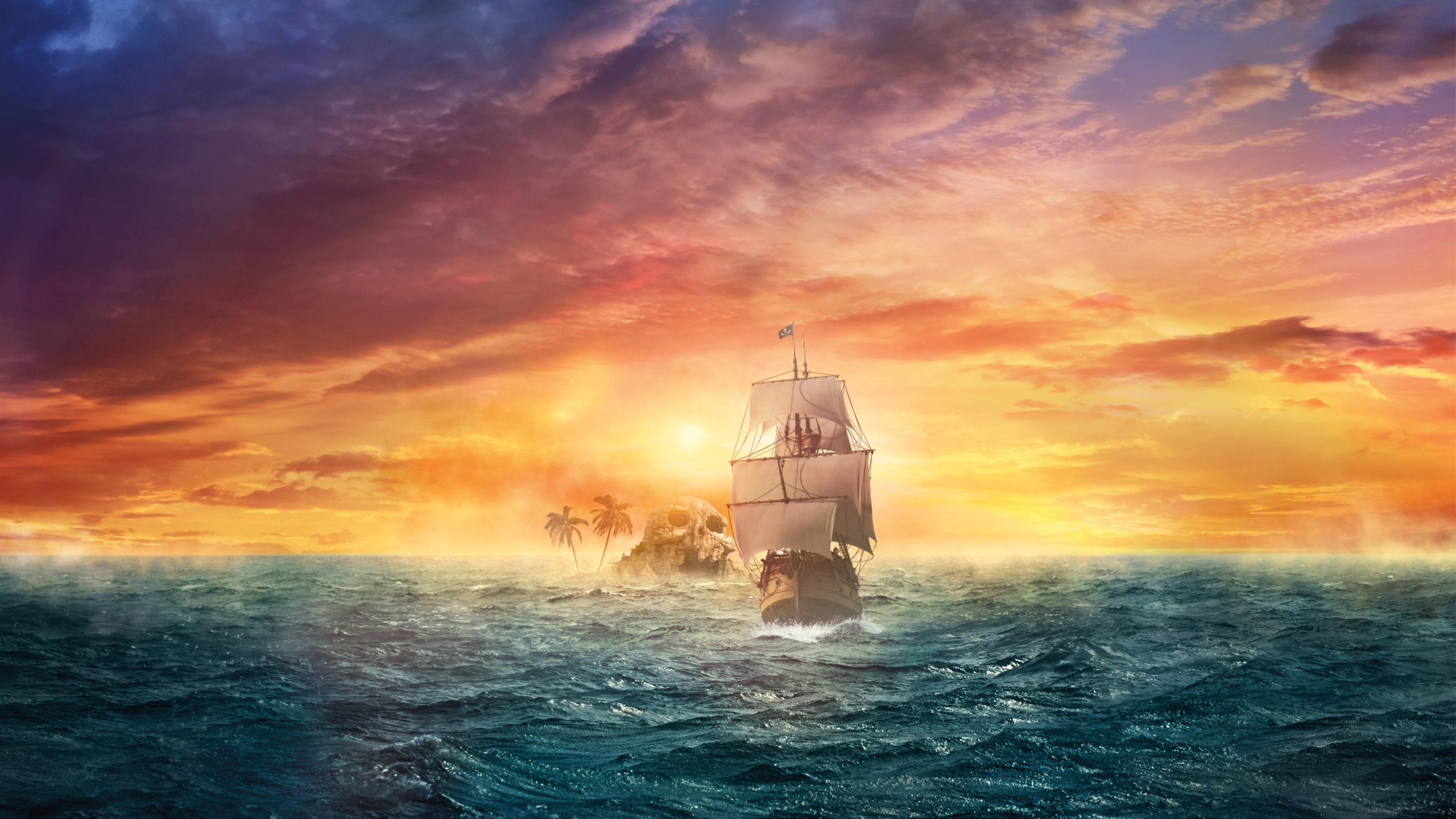 Wallpaper pirate ship sea ocean sunset skull land
