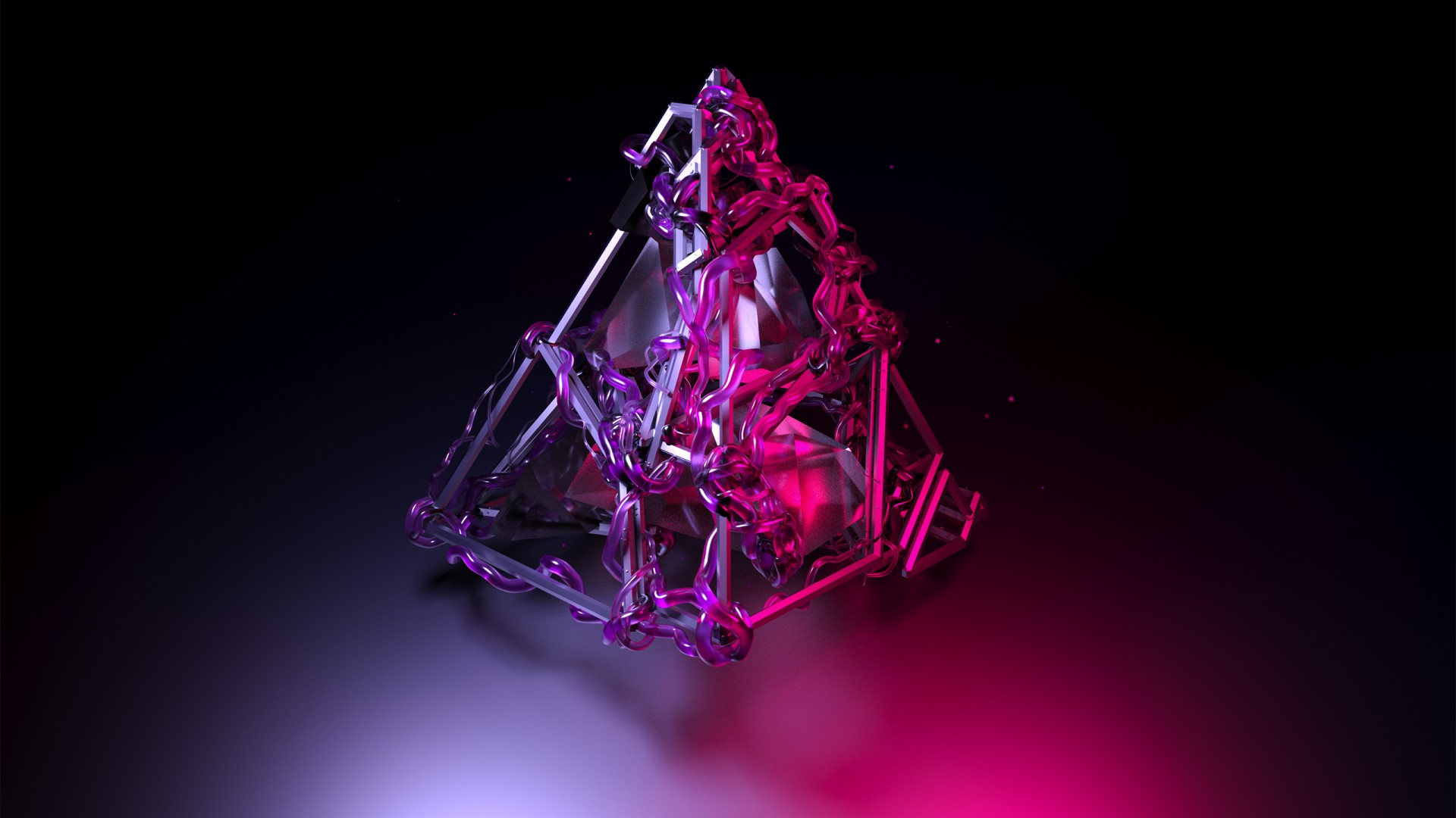 Wallpaper Pyramid, 3D, Violet, HD, OS #16382