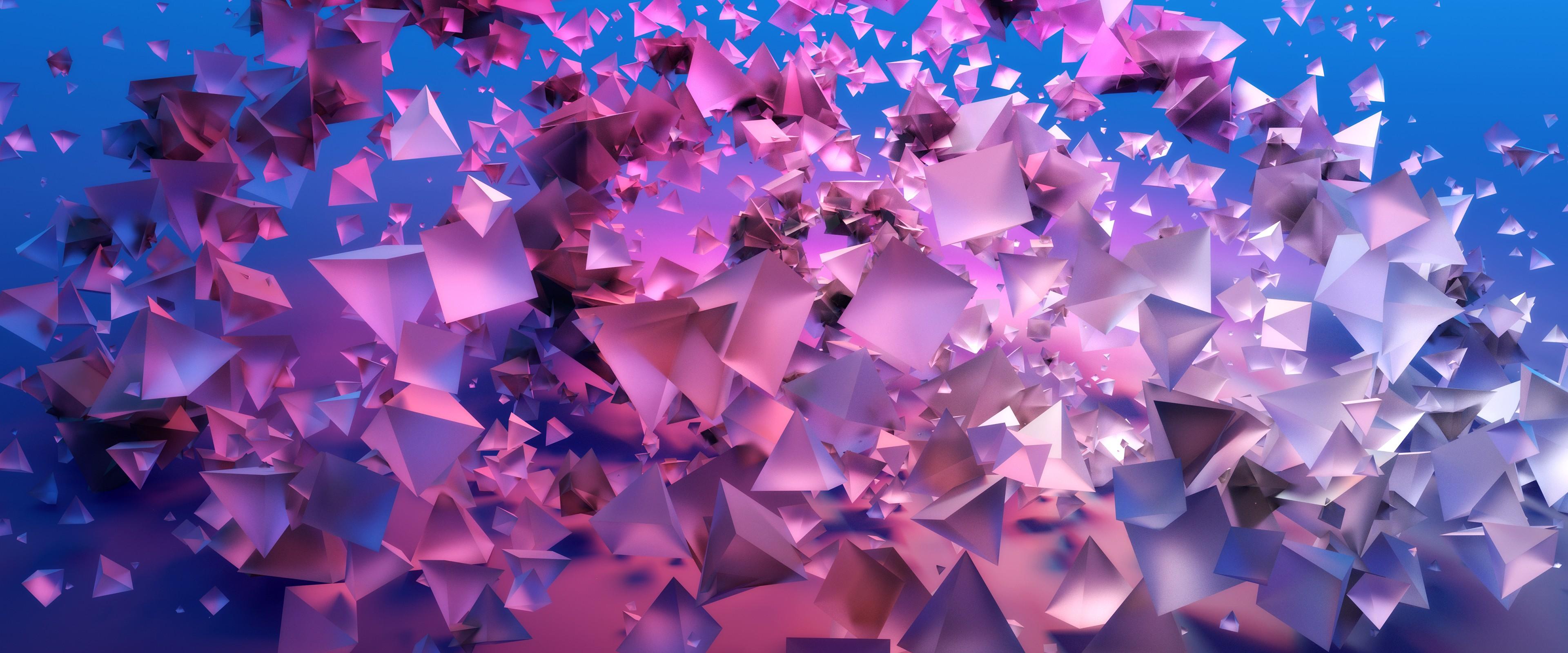 Wallpaper pyramids, 3D, violet, blue, 4k, OS #16376