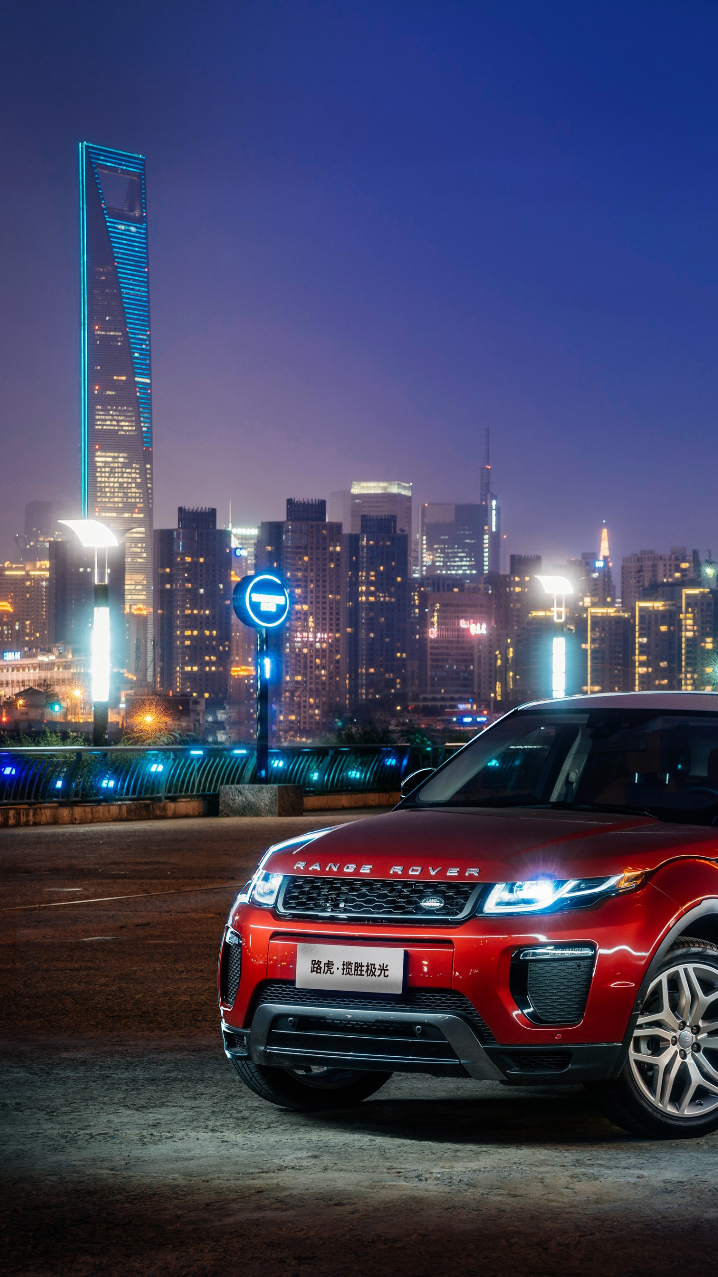 Wallpaper Range Rover Evoque Red Town Night Cars
