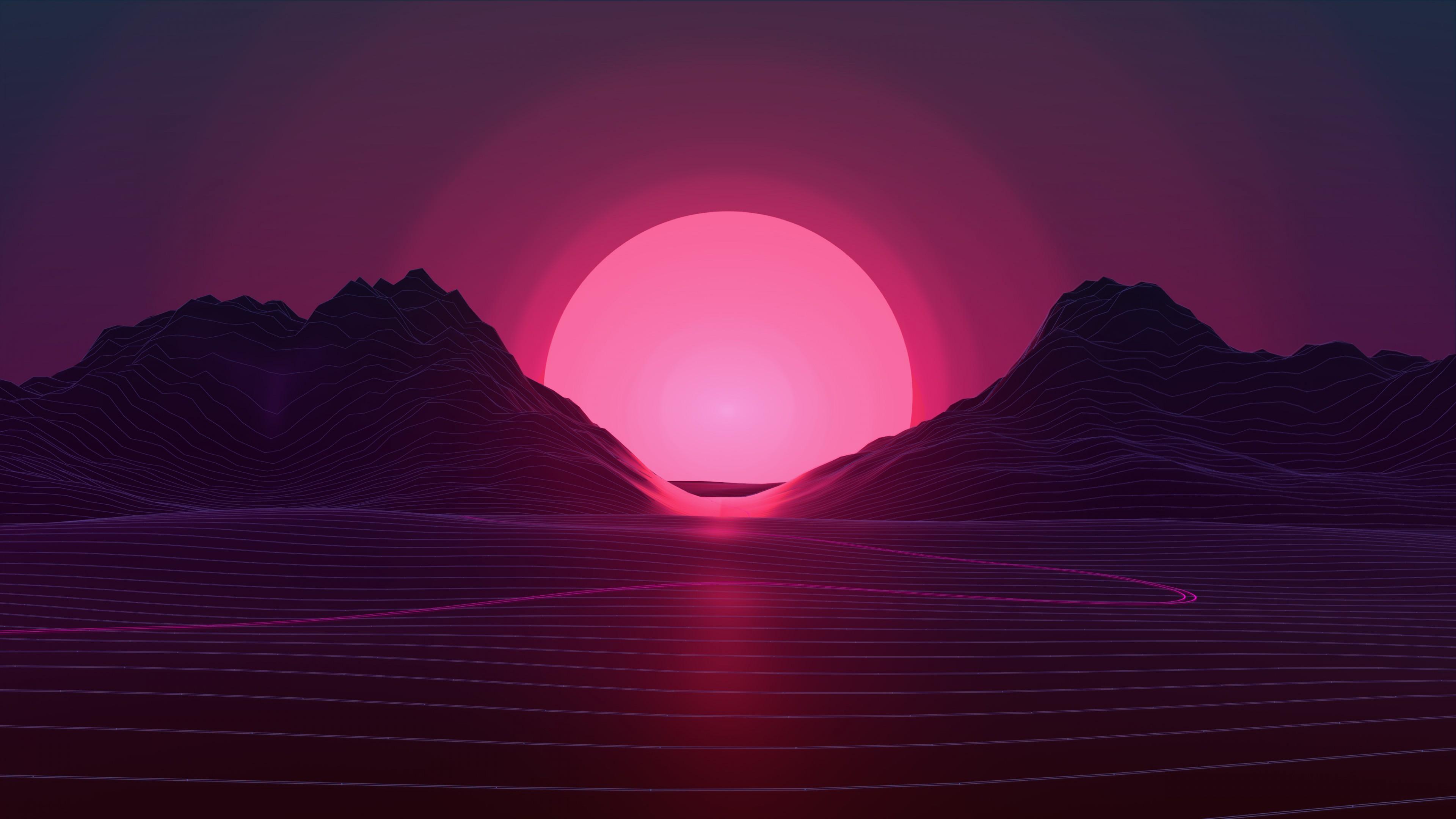 Wallpaper Retrowave, lines, sunset, 4K, Art #18950 - Page 716