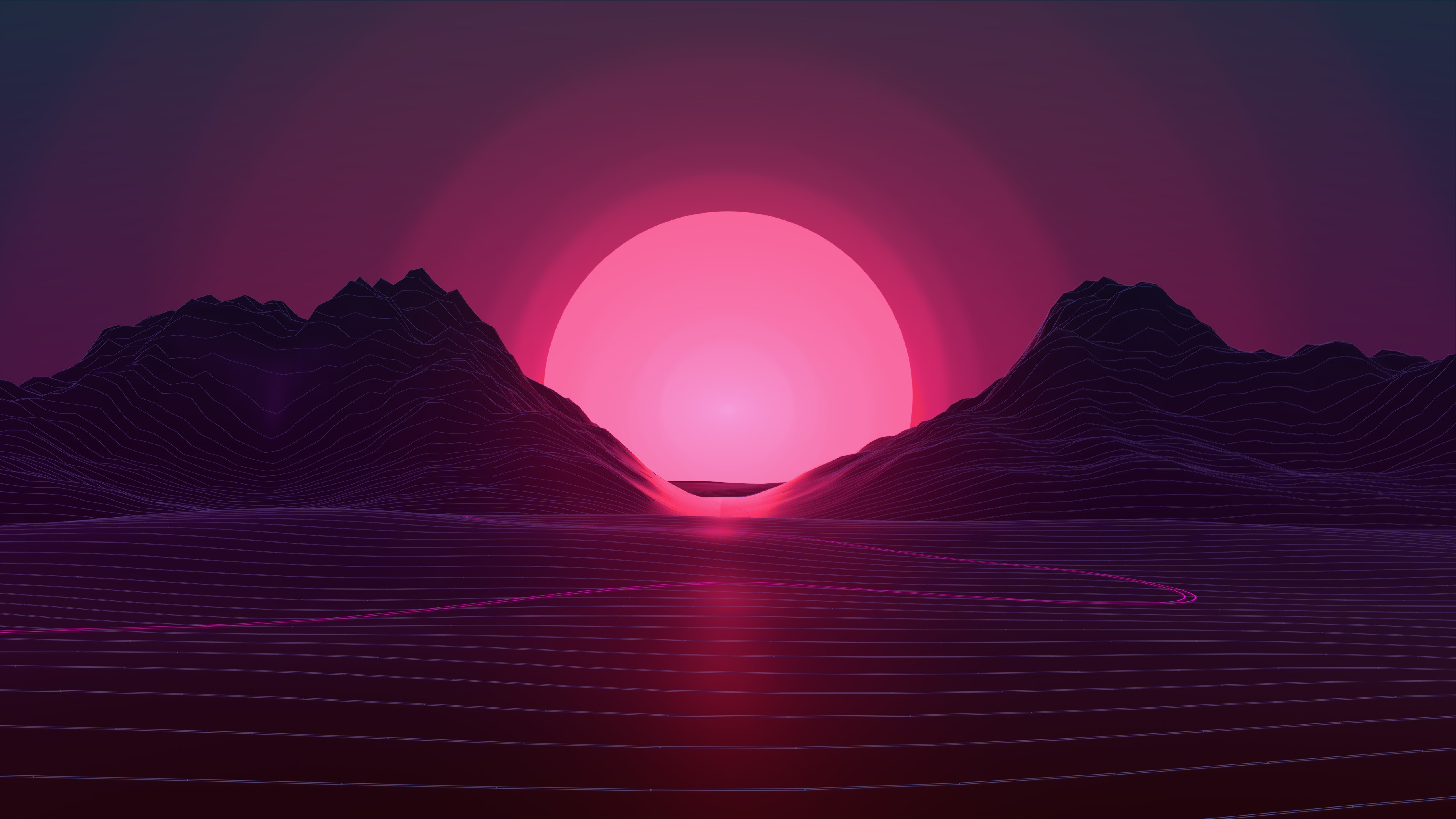 Wallpaper Retrowave Lines Sunset 4k Abstract 18950