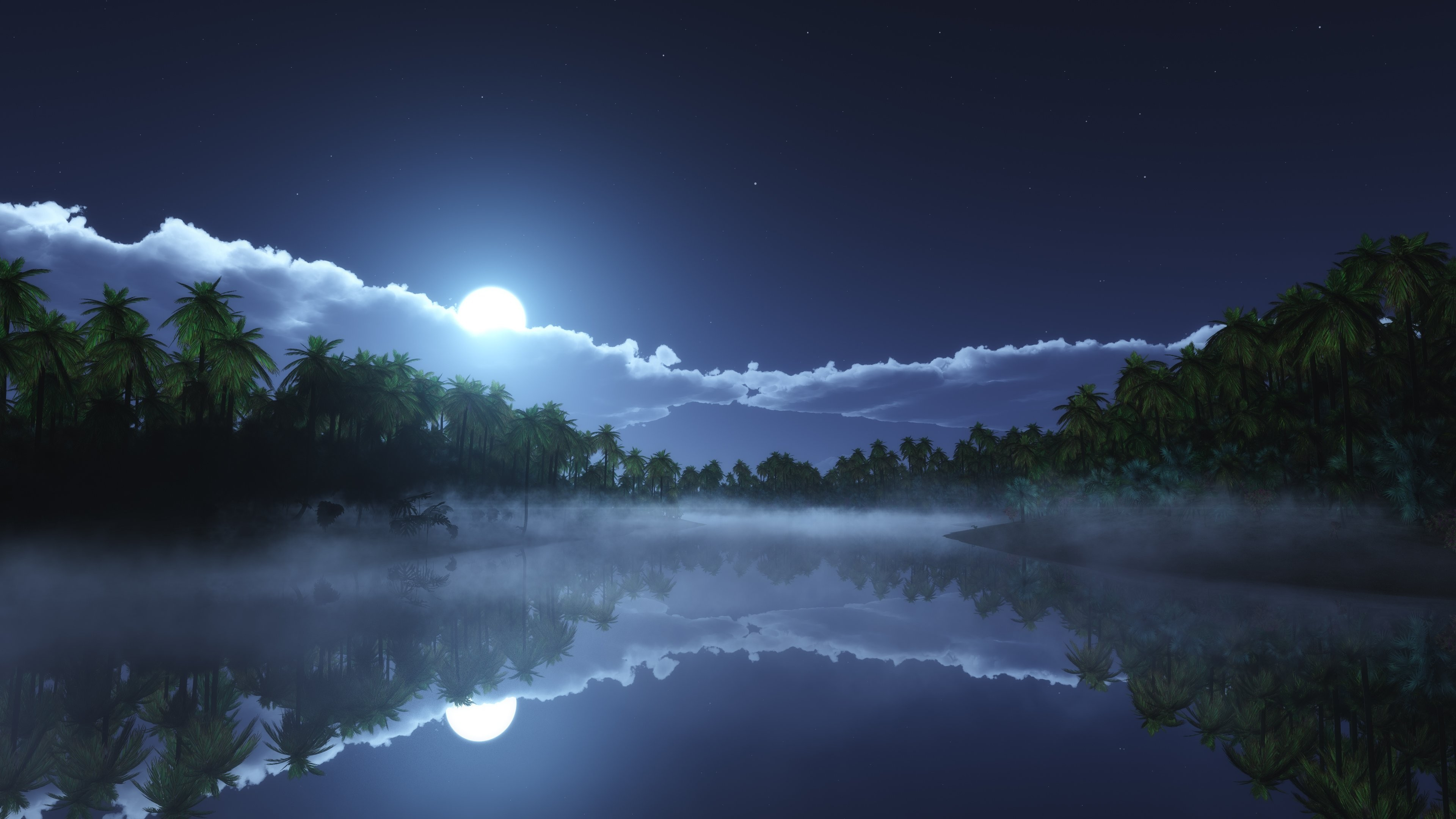 Wallpaper River 4k Hd Wallpaper Sea Palms Night Moon Clouds Nature 5714