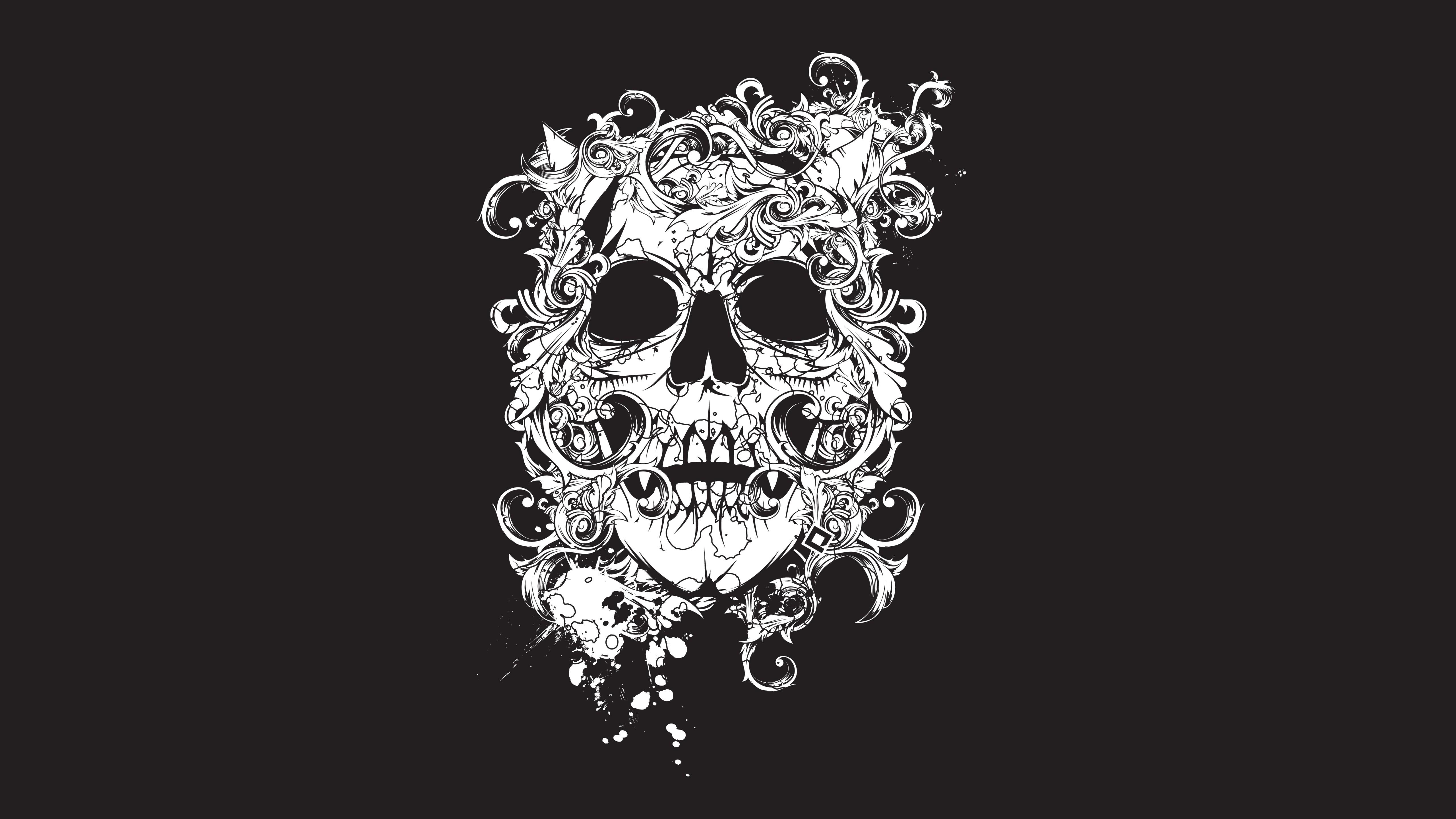 Wallpaper scull, black, tatto, decor, Art #280