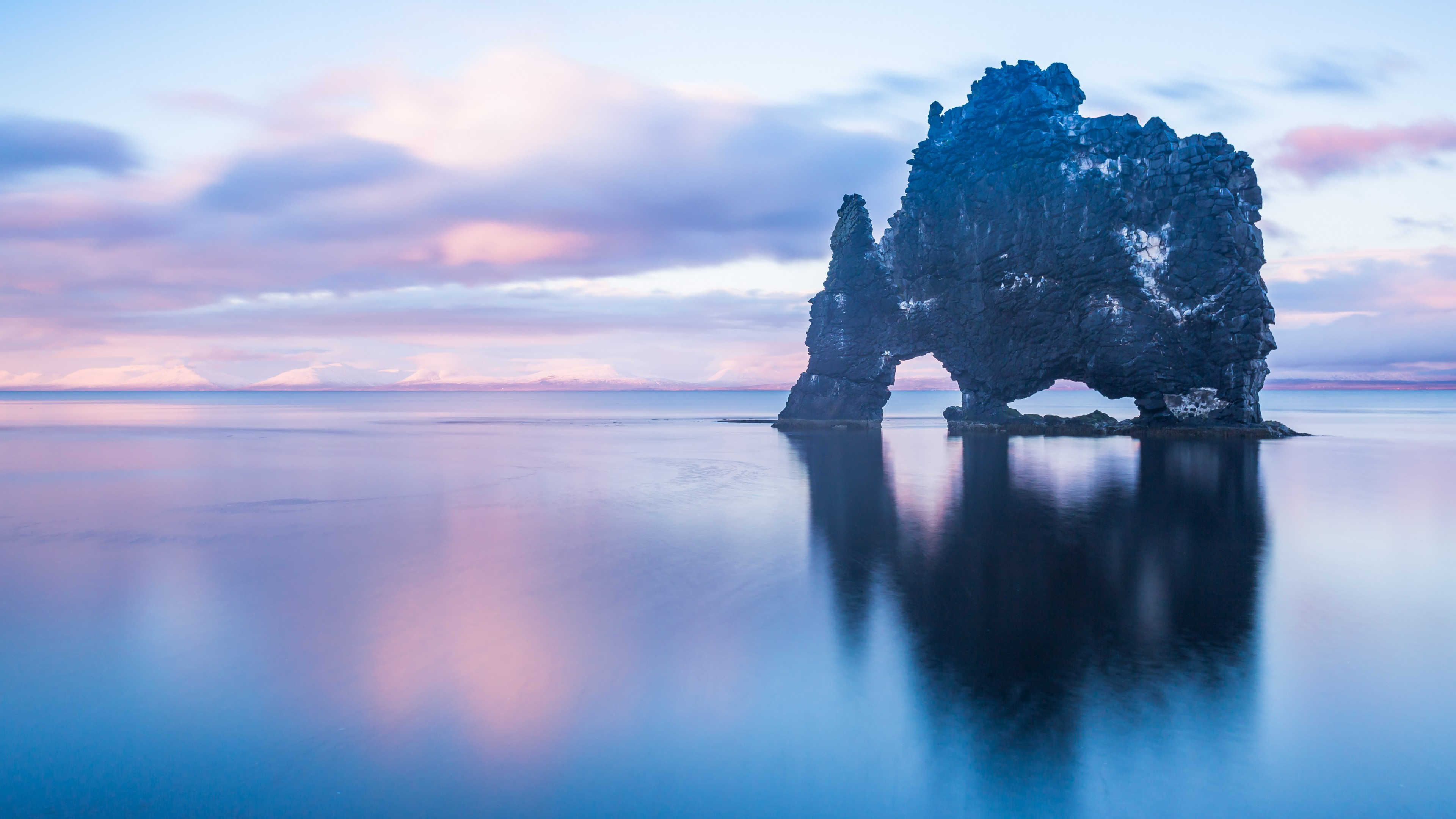 Wallpaper Sea Ocean Rock Sky Hvitserkur Iceland 4k