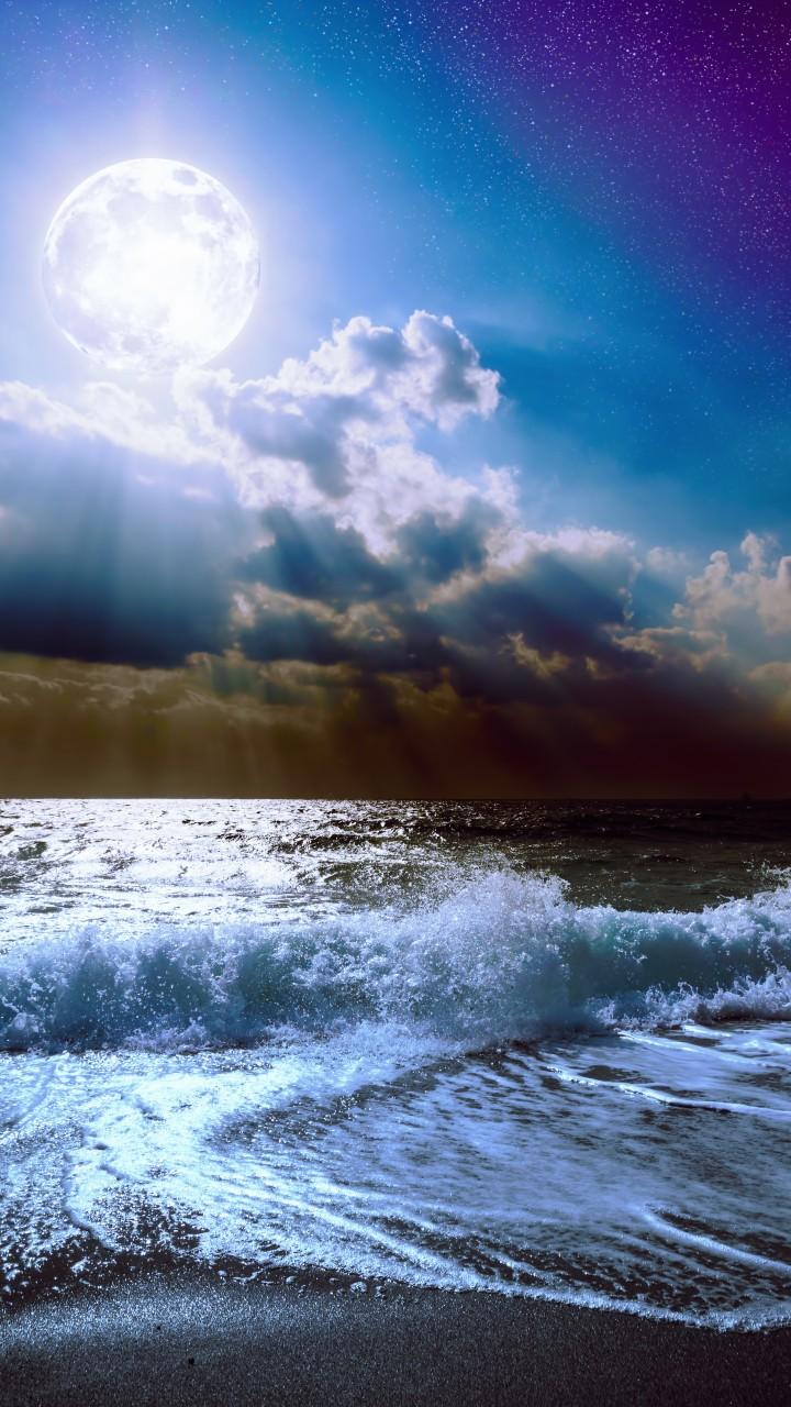 Wallpaper Sea 5k 4k Wallpaper 8k Moon Clouds Sky