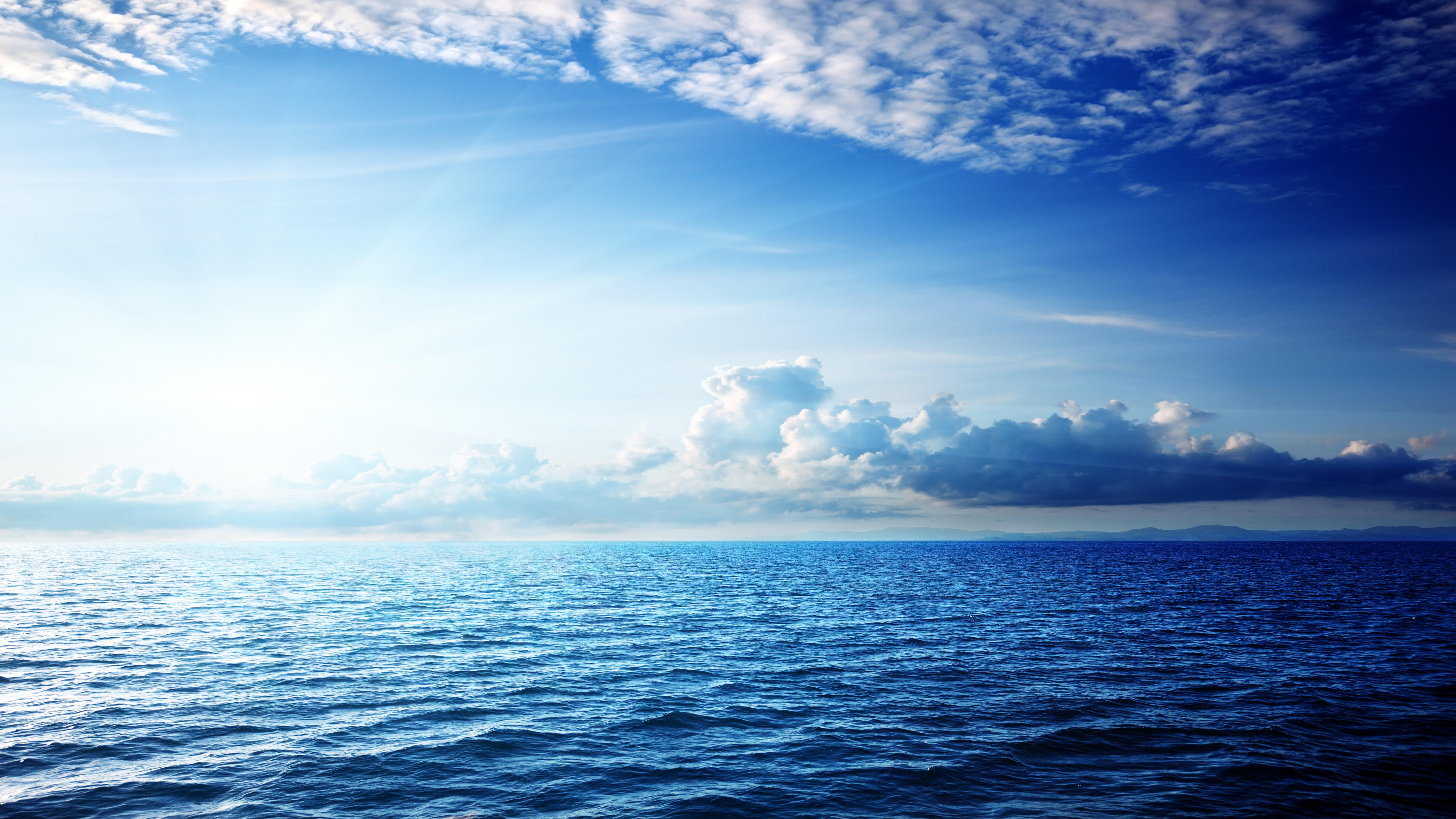 White Clouds In The Sky 4k Hd Desktop Wallpaper For 4k: Wallpaper Sea, 5k, 4k Wallpaper, Ocean, Sky, Clouds