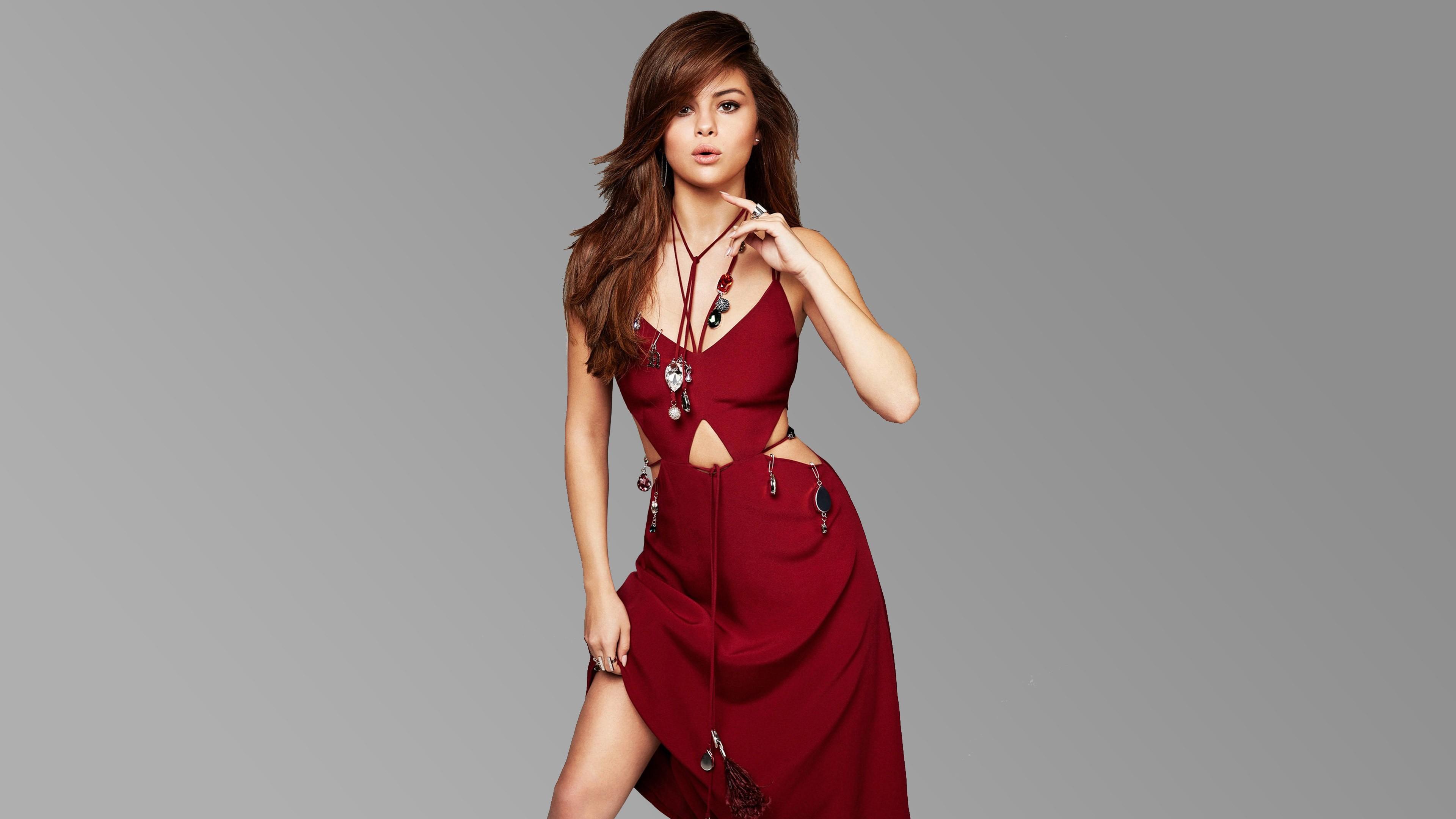 Wallpaper Selena Gomez, red dress, look, Most popular ... Rosie Huntington Whiteley Lips