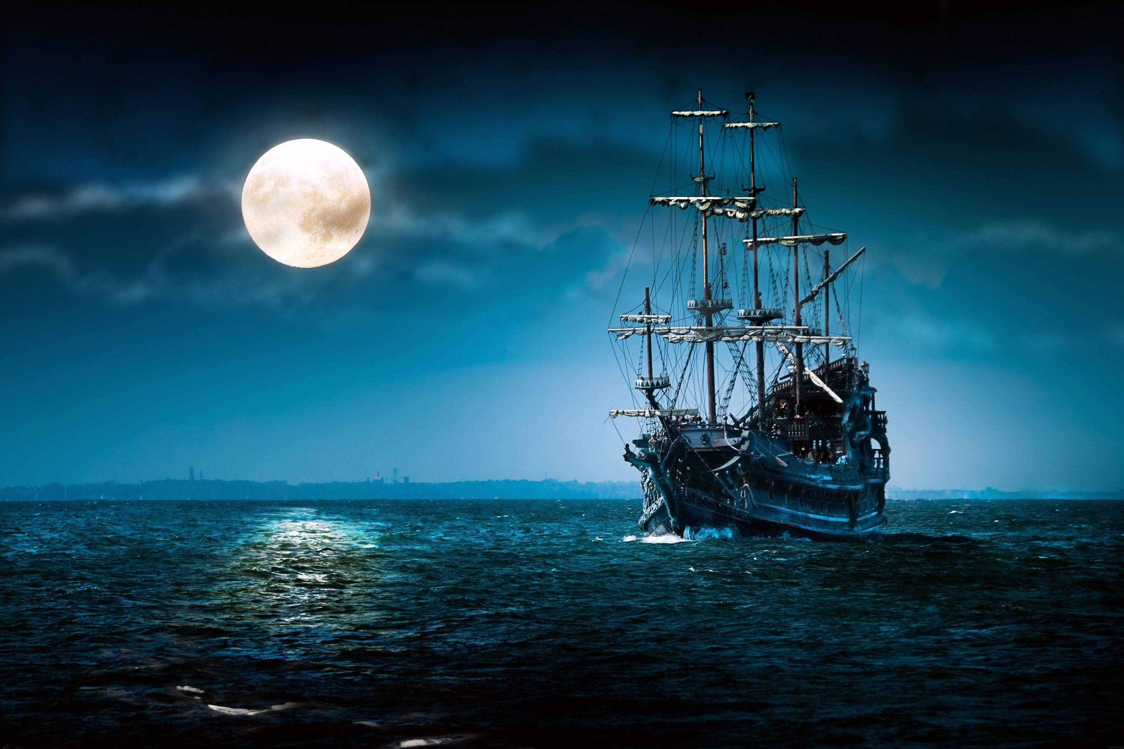 Wonderful Wallpaper Night Art - ship-3750x2500-sea-moon-night-4193  Collection.jpg