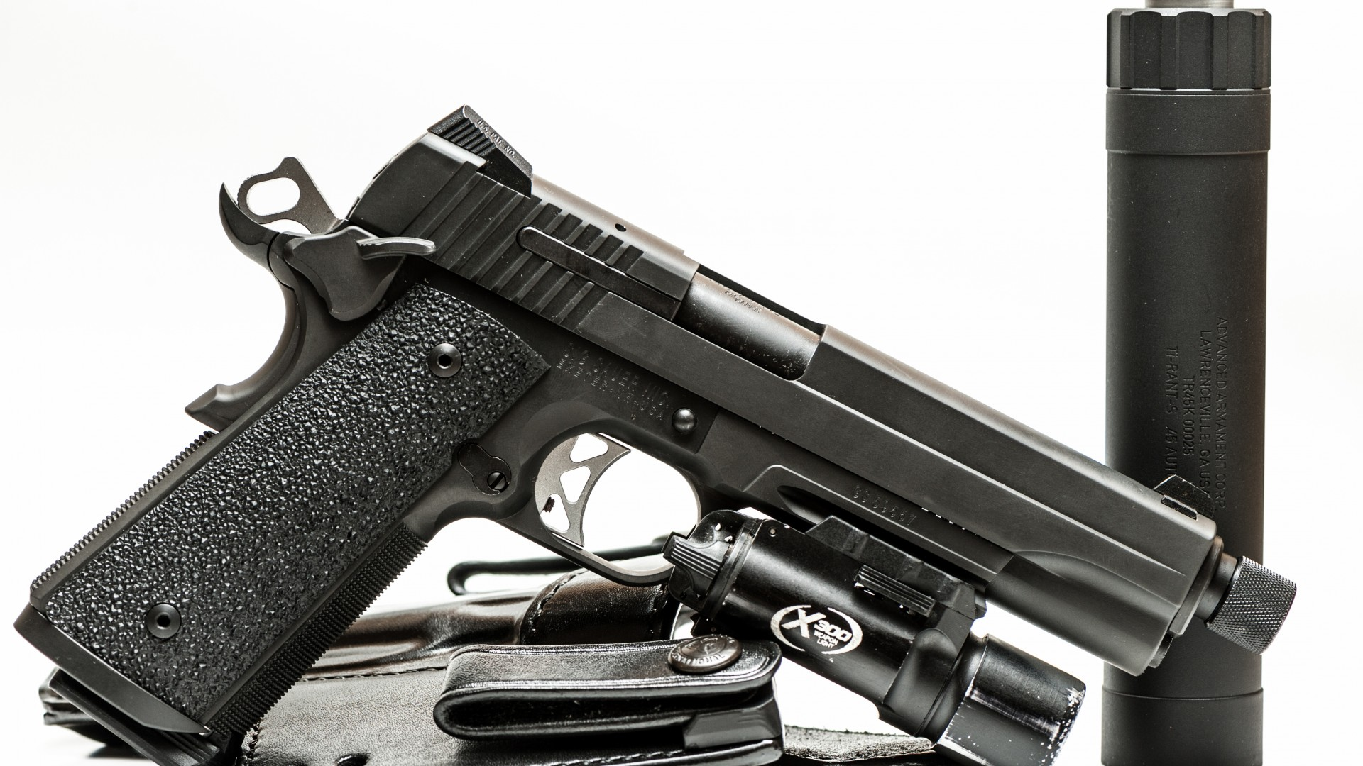 Wallpaper Pistols Sig Sauer P226 Army: Wallpaper SIG Sauer P226, Black, Silencer, Germany