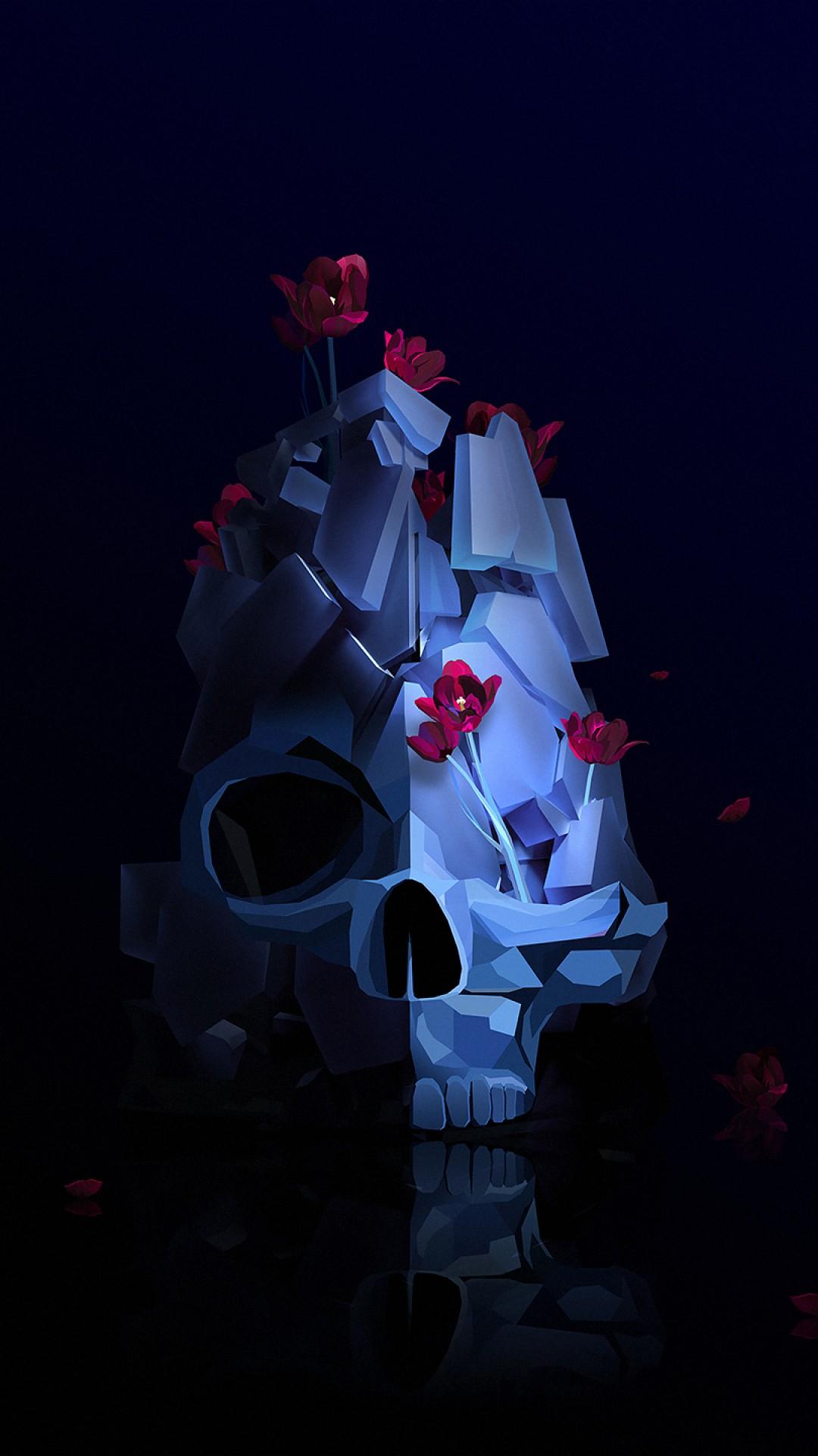 Wallpaper Skull  Flower  3d  Hd  Abstract  16380