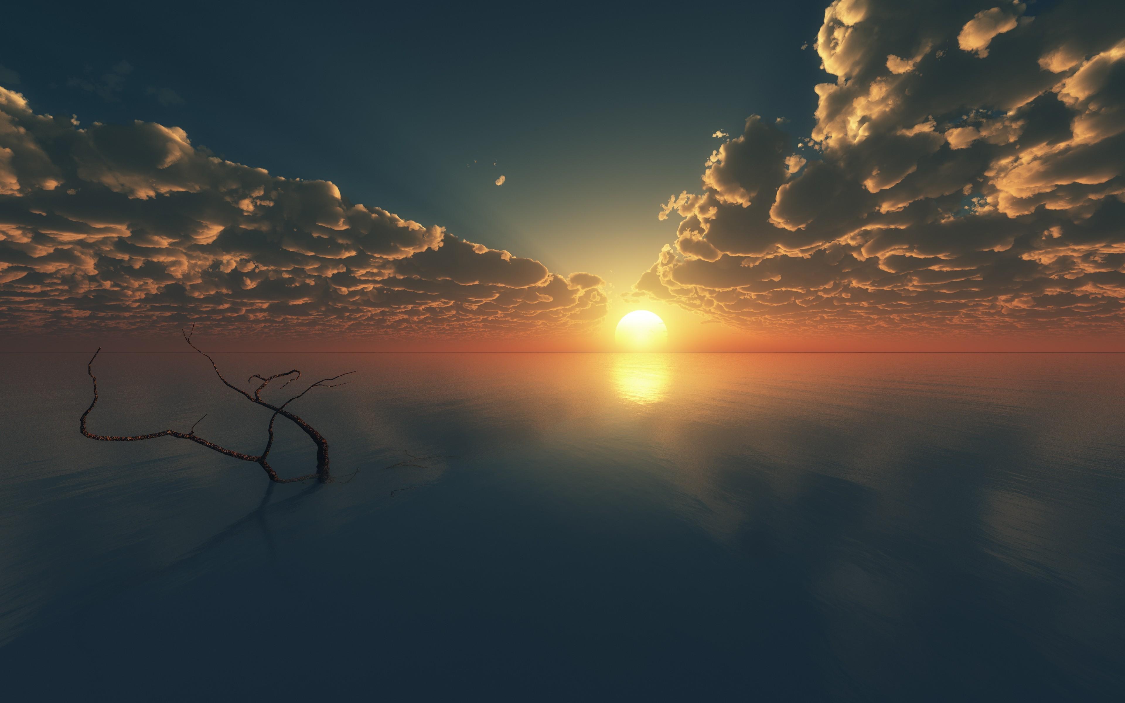 wallpaper sky, 4k, hd wallpaper, clouds, sunset, sunrise, water