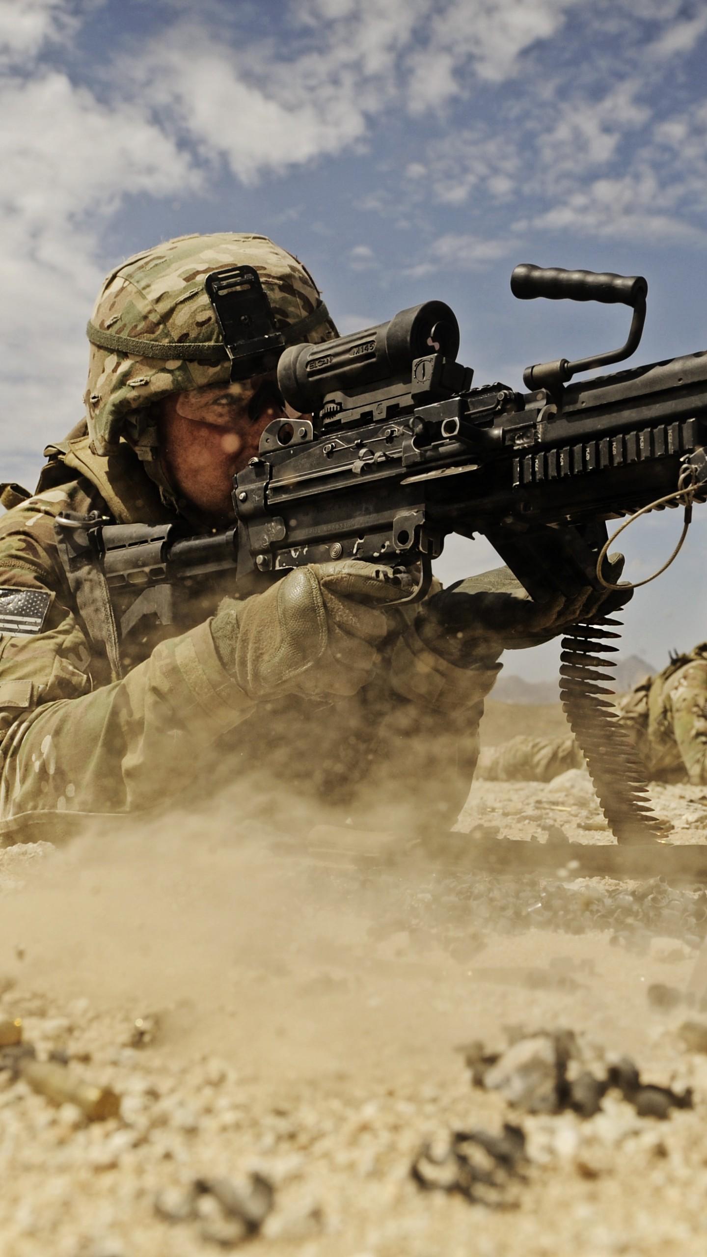 Wallpaper Soldier M249 Lmg Machine Gun U S Army Firing