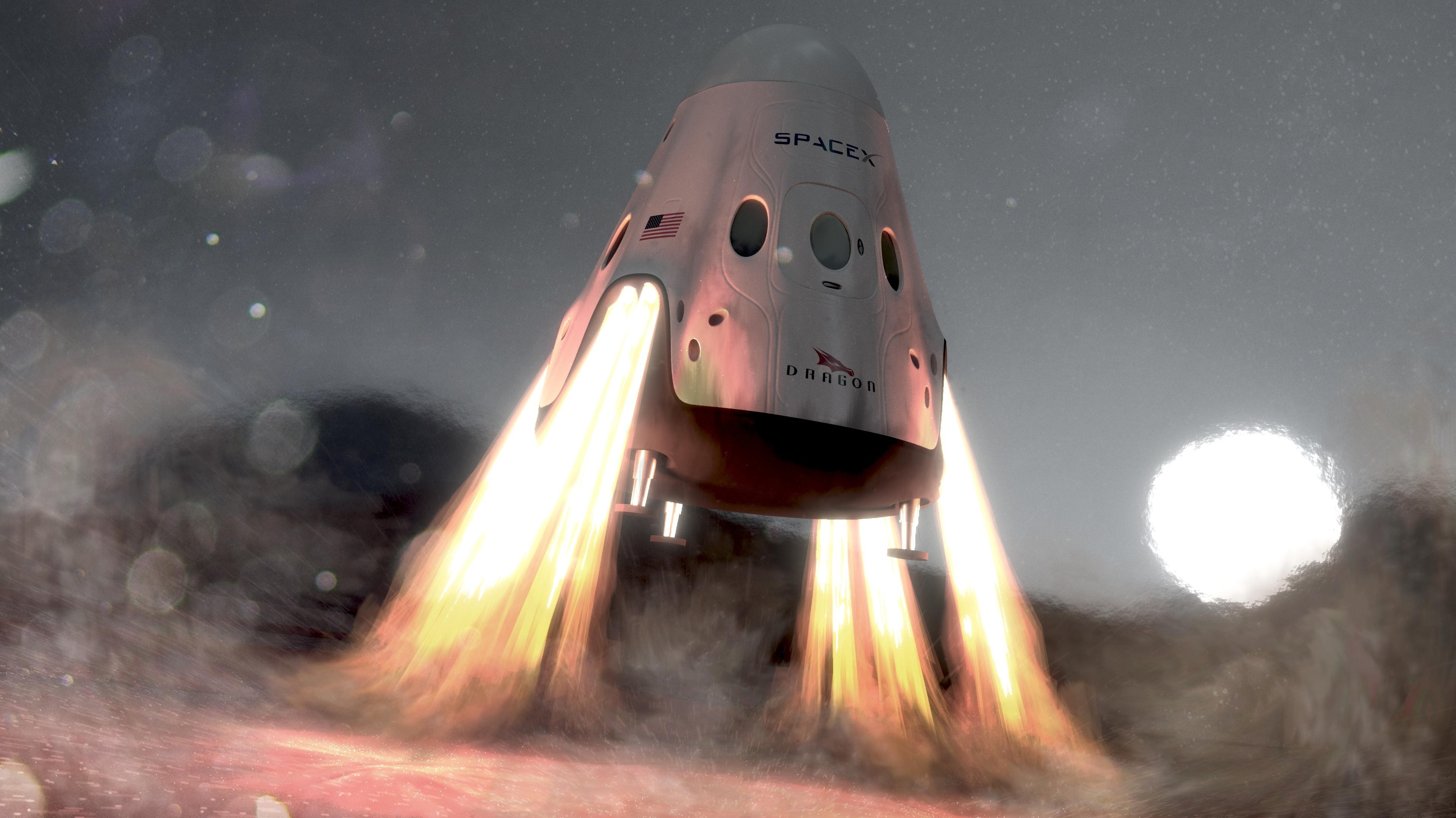 wallpaper spacex  ship  red dragon  mars  space  12072