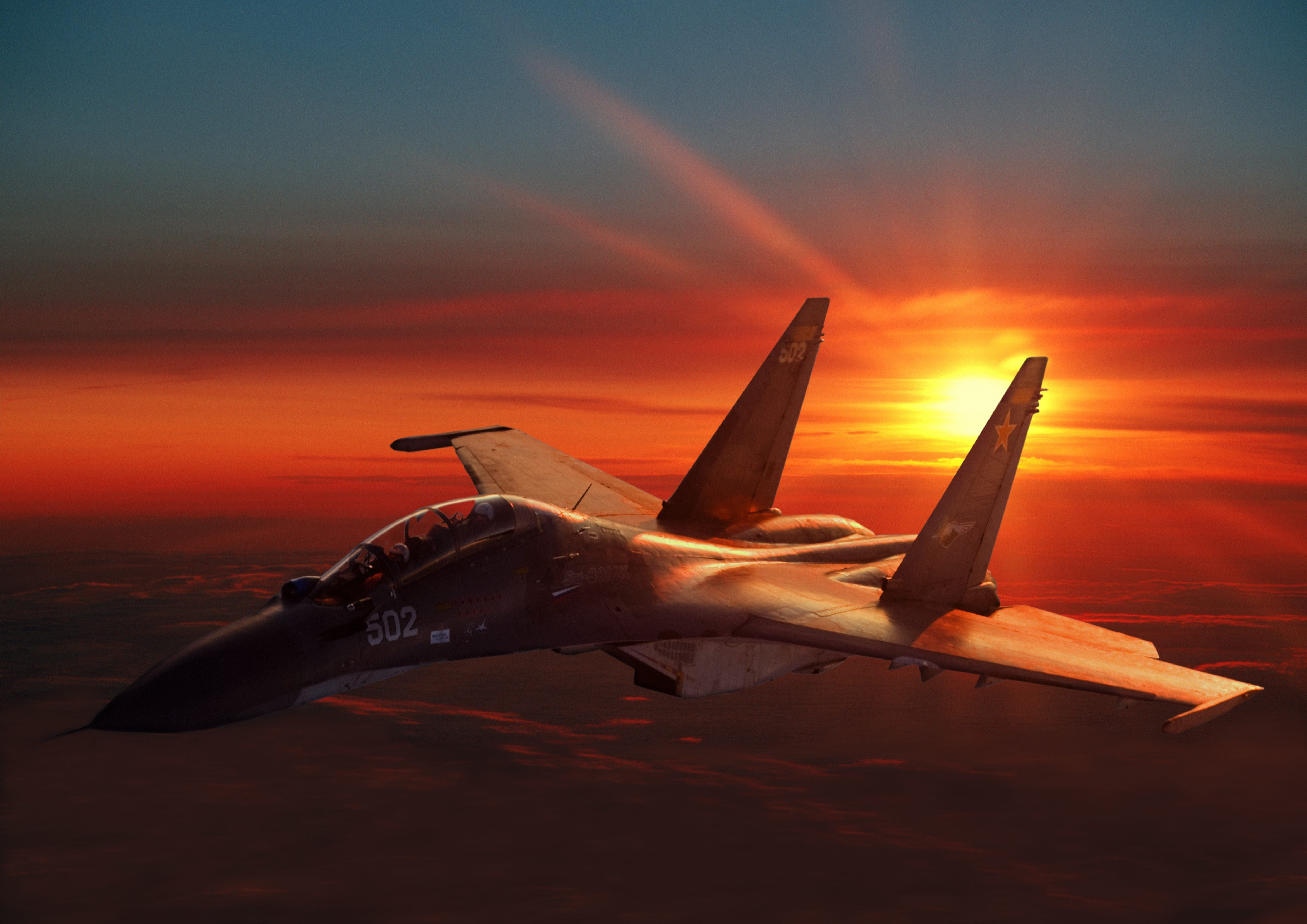 Wallpaper Sukhoi Su 30 Fighter Aircraft Sunset Russian Army