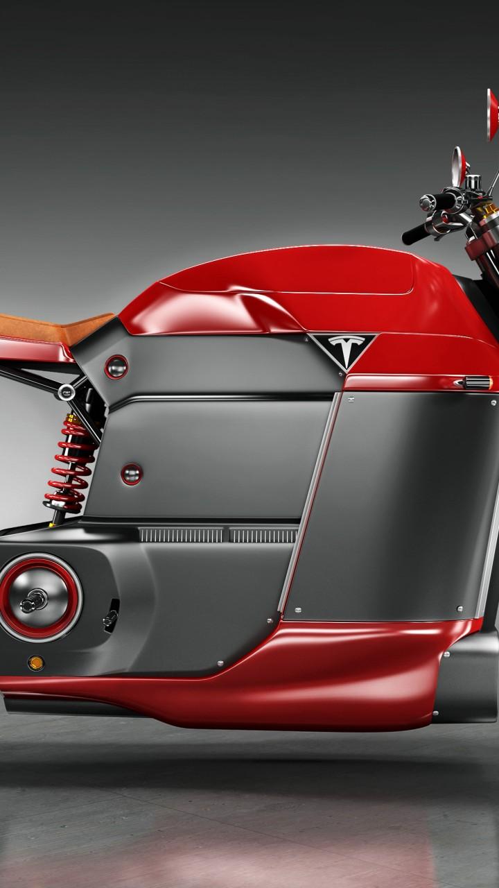 Wallpaper Tesla Model M Electric Motorcycle Red