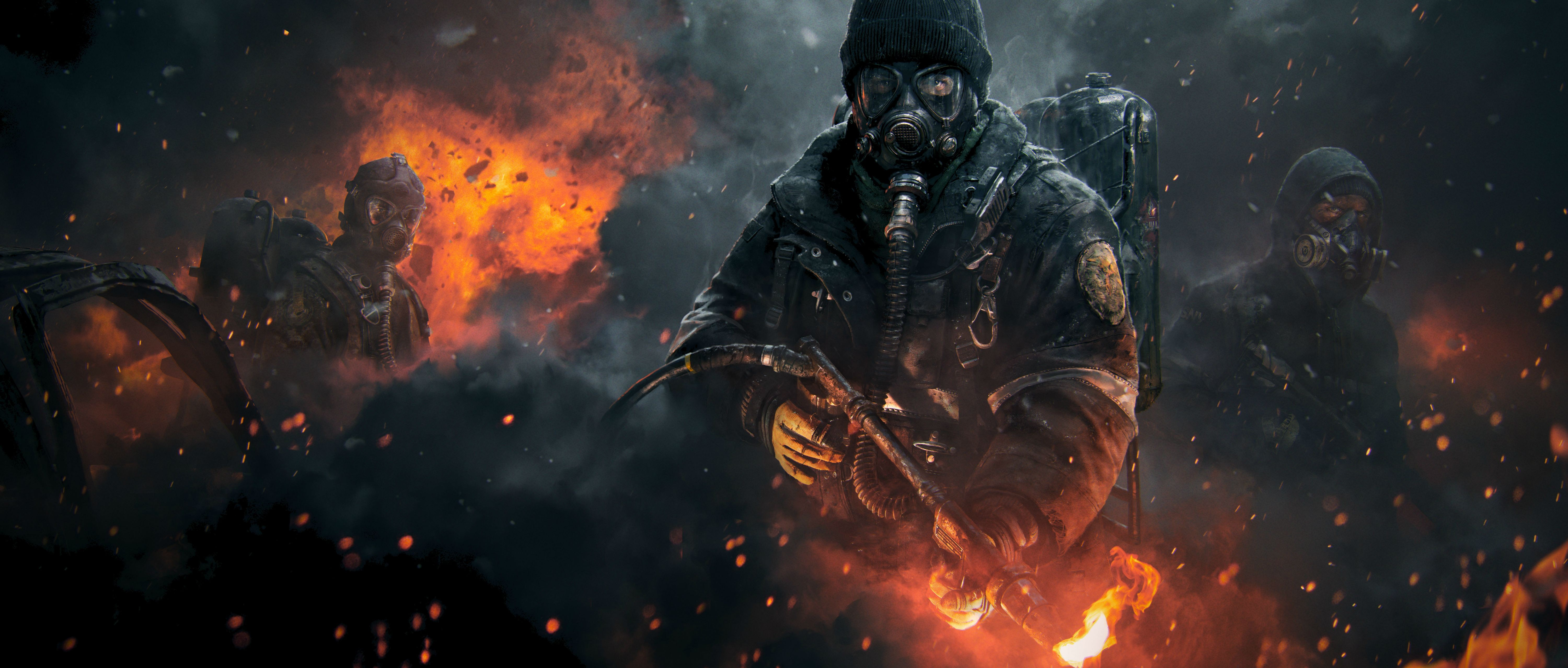 Wallpaper The Division, Tom Clancy\u2019s, flamethrower